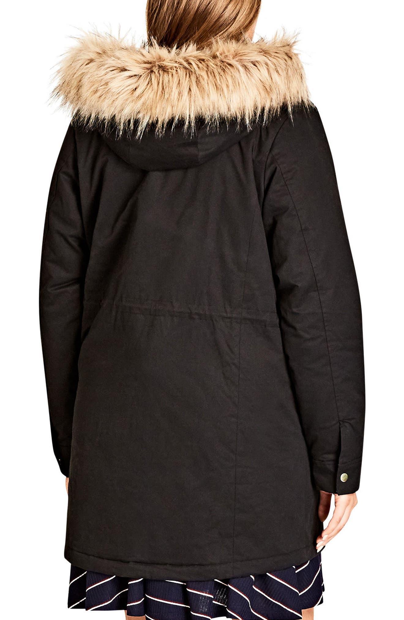 Alternate Image 2  - City Chic Snowed In Faux Fur Trim Parka (Plus Size)