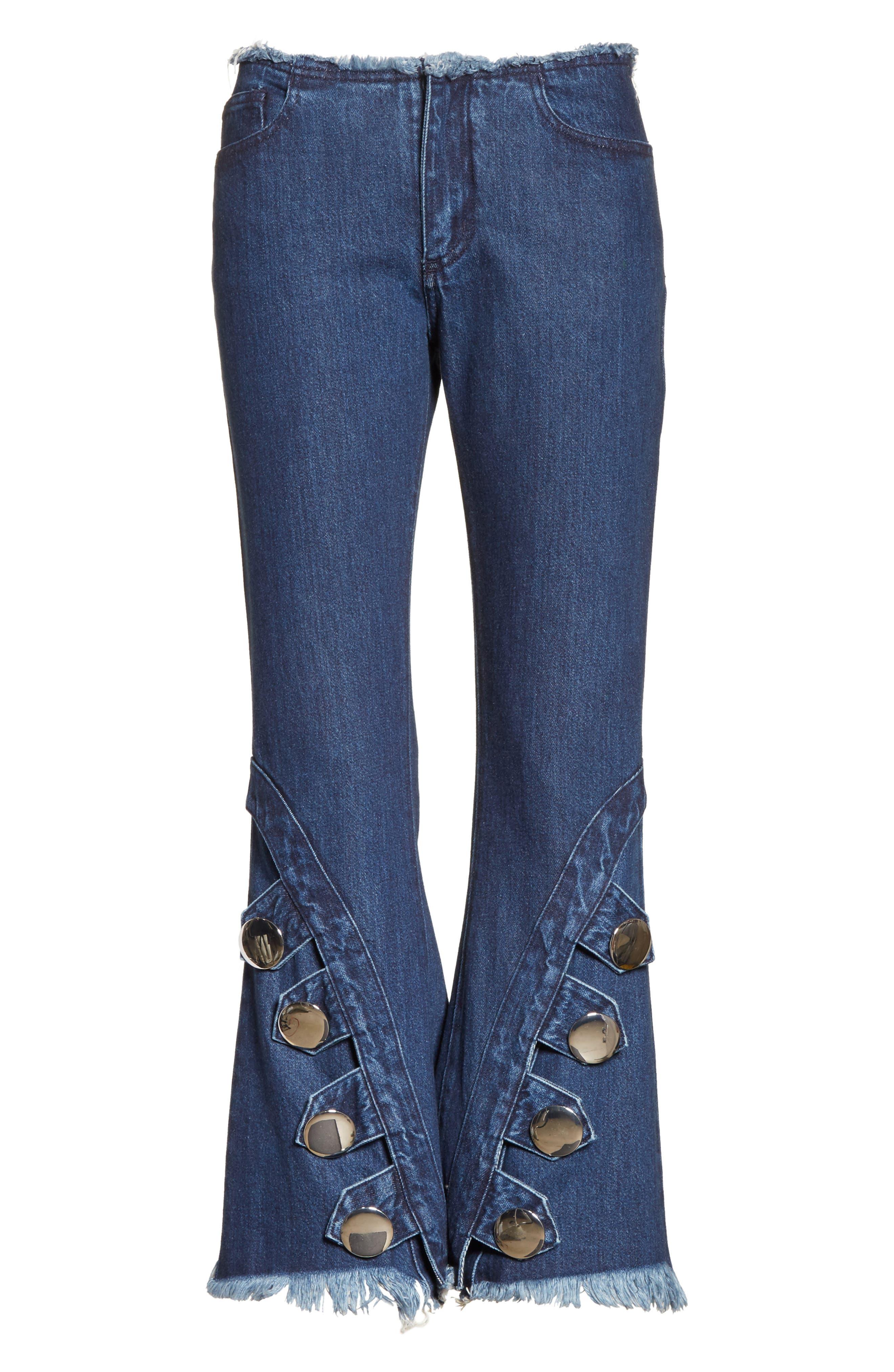 Marques'Almeida Button Trim Crop Flare Jeans,                             Alternate thumbnail 7, color,                             Indigo