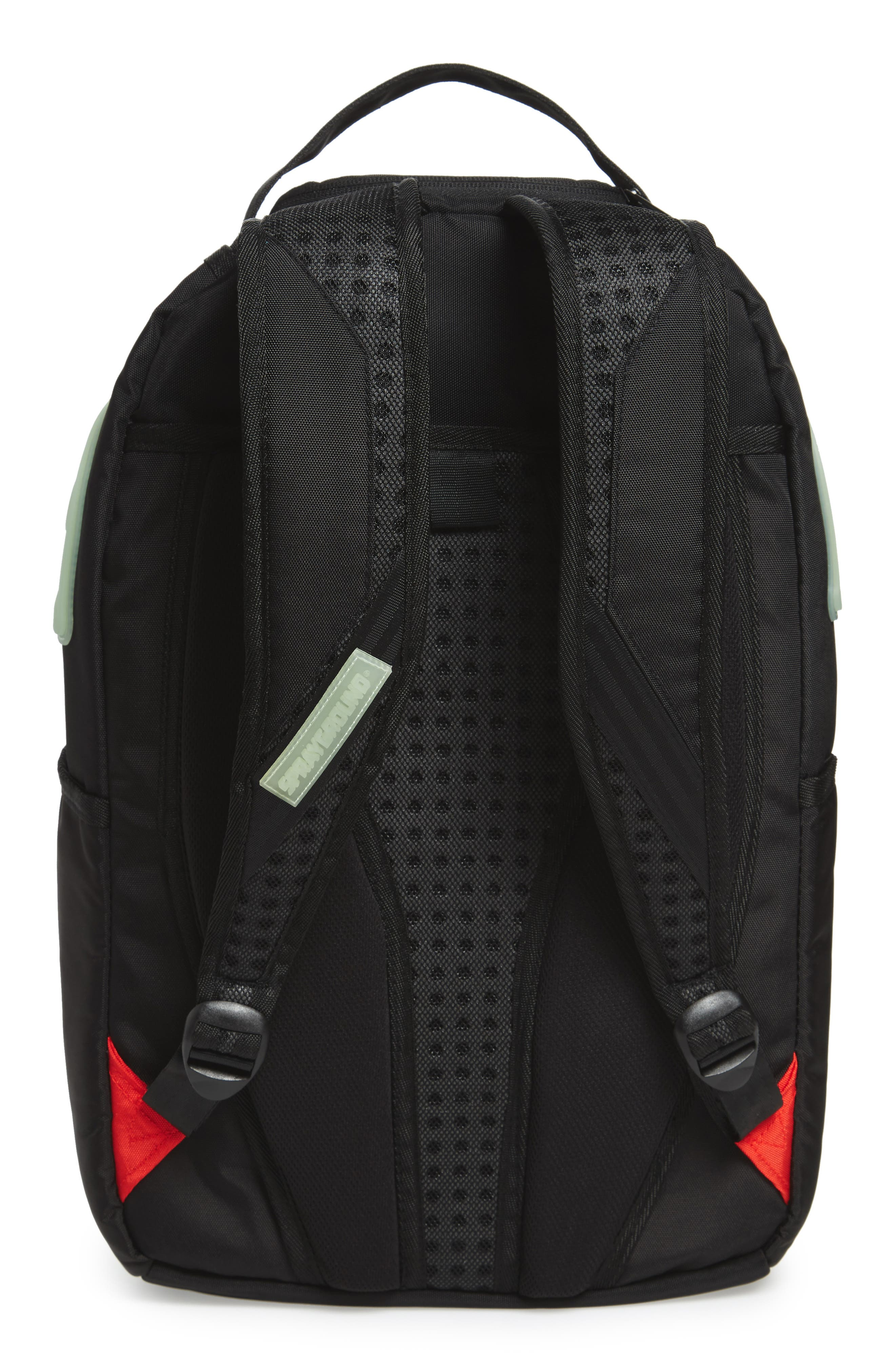 Glow in the Dark Shark Backpack,                             Alternate thumbnail 2, color,                             Black