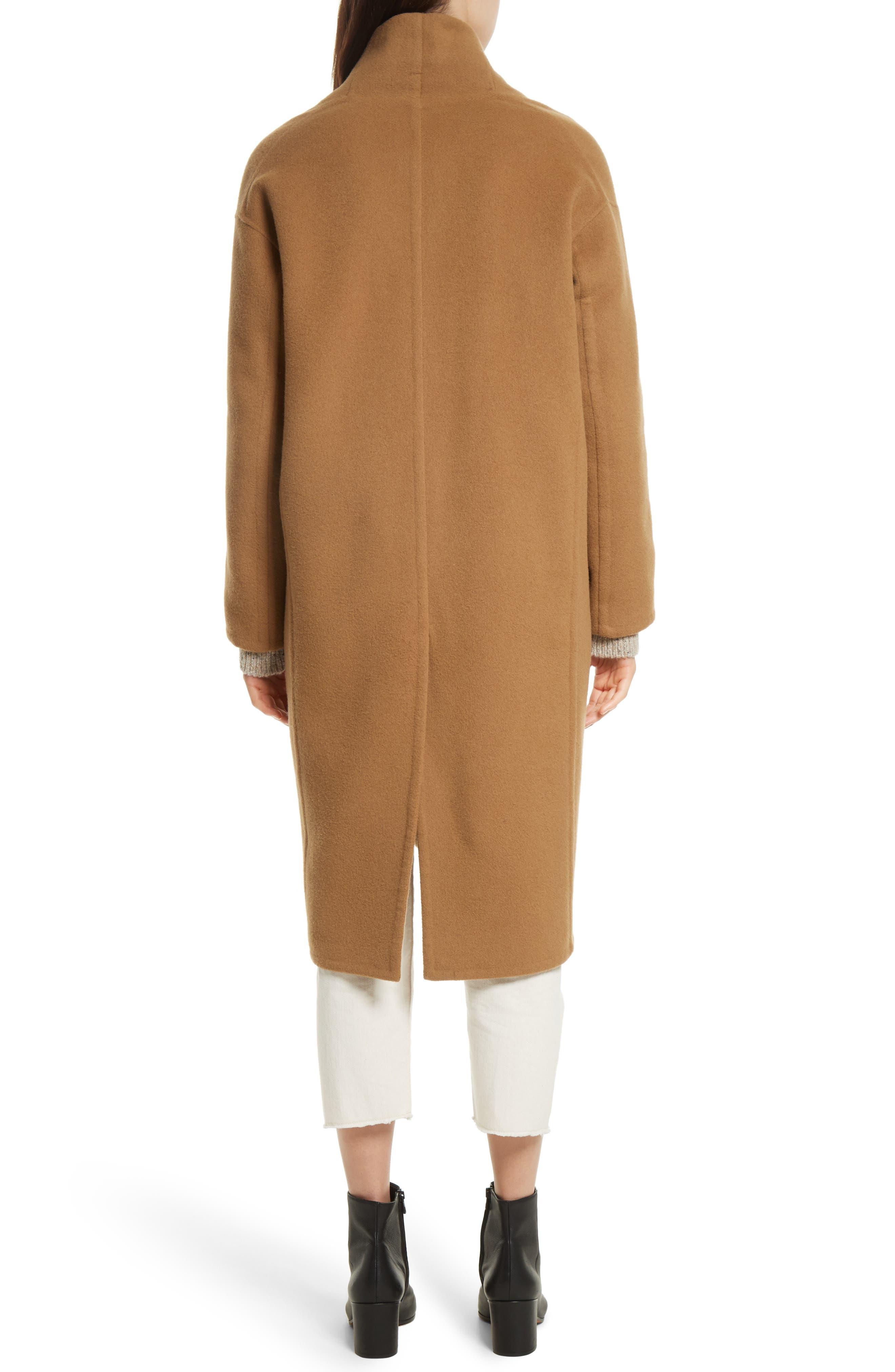 High Collar Long Wool Blend Coat,                             Alternate thumbnail 2, color,                             Camel
