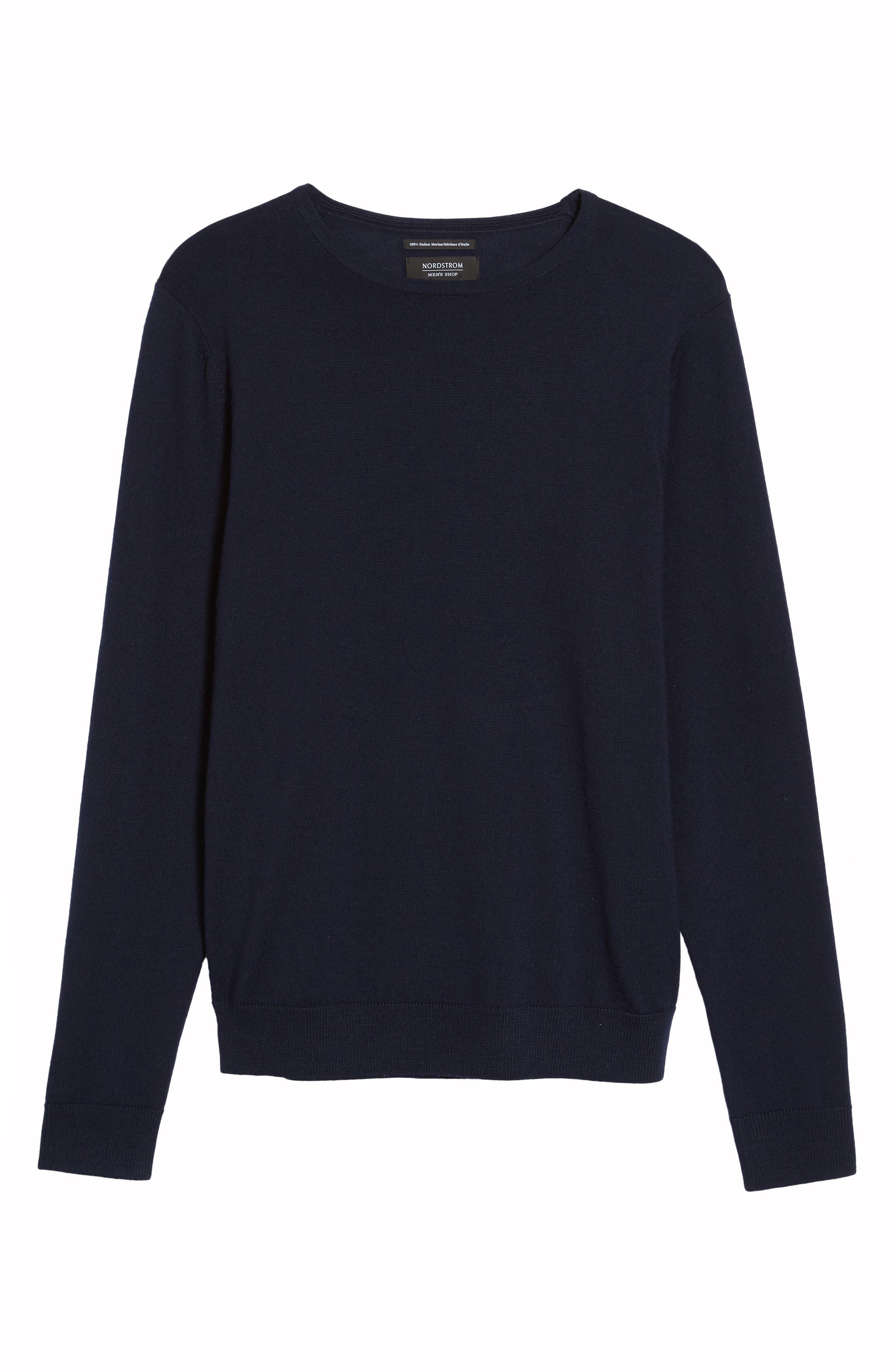 Alternate Image 6  - Nordstrom Men's Shop Crewneck Merino Wool Sweater (Regular & Tall)
