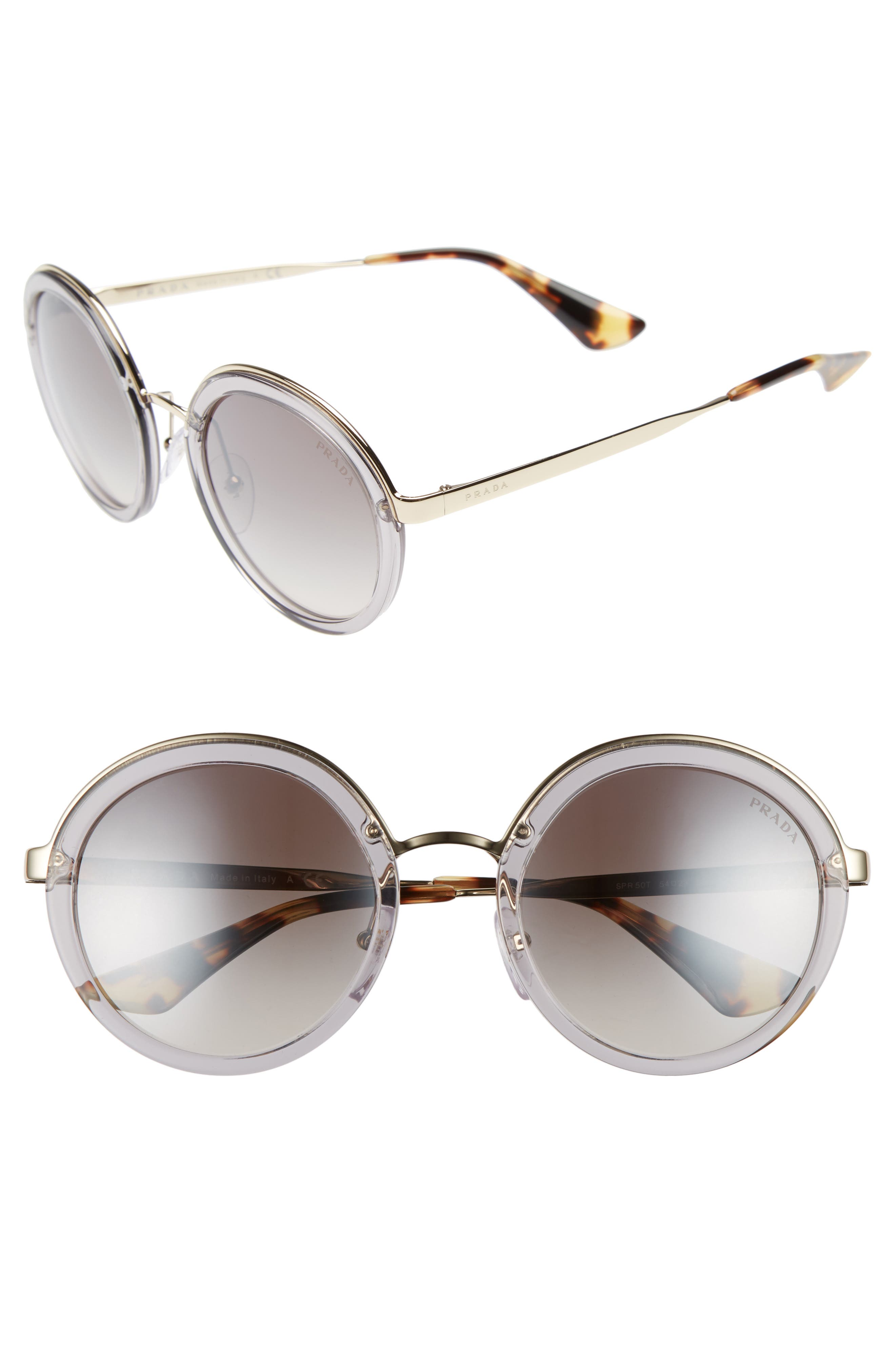 Main Image - Prada 54mm Round Gradient Sunglasses