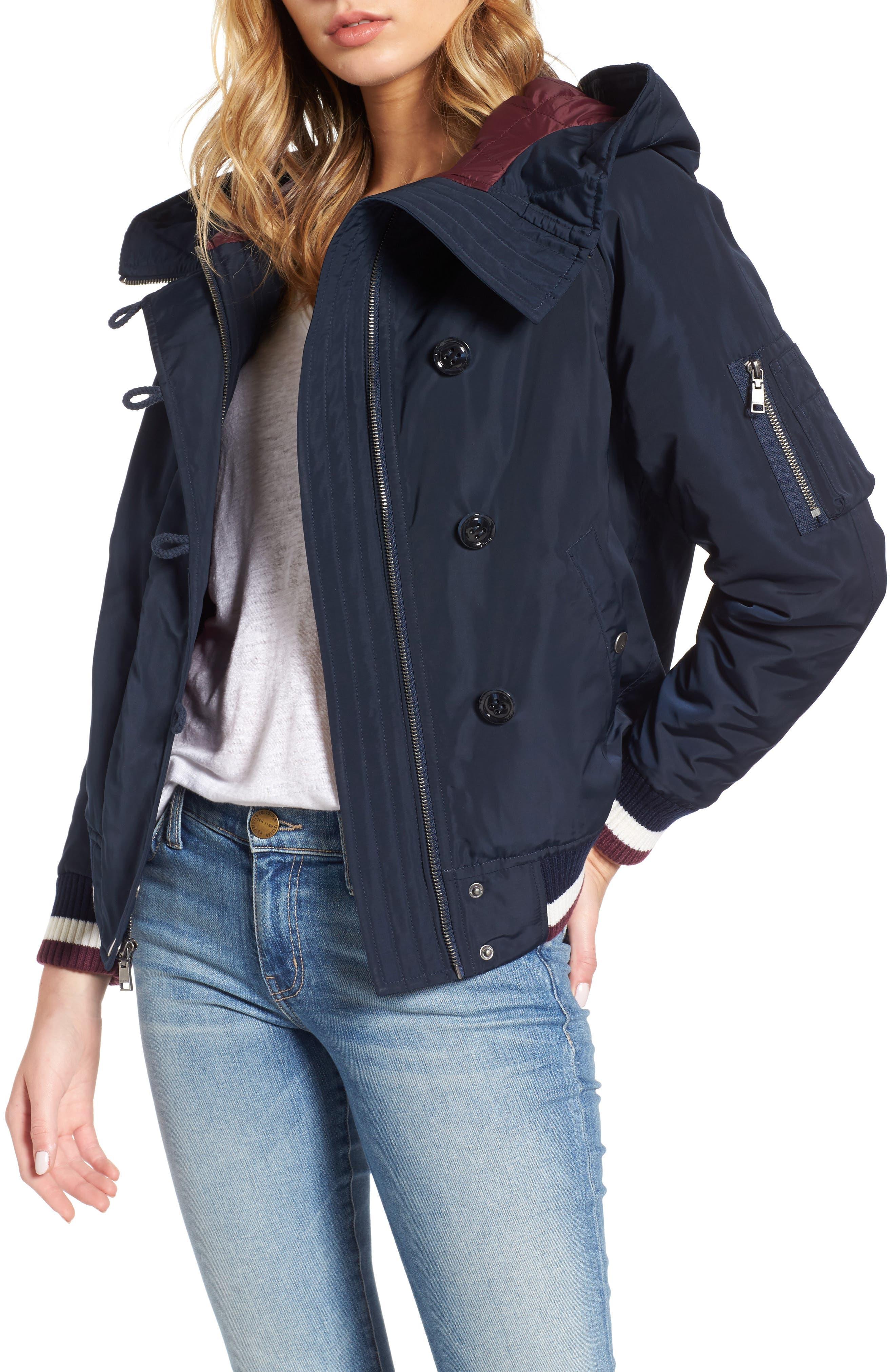 Hooded Windbreaker Jacket,                         Main,                         color, Navy