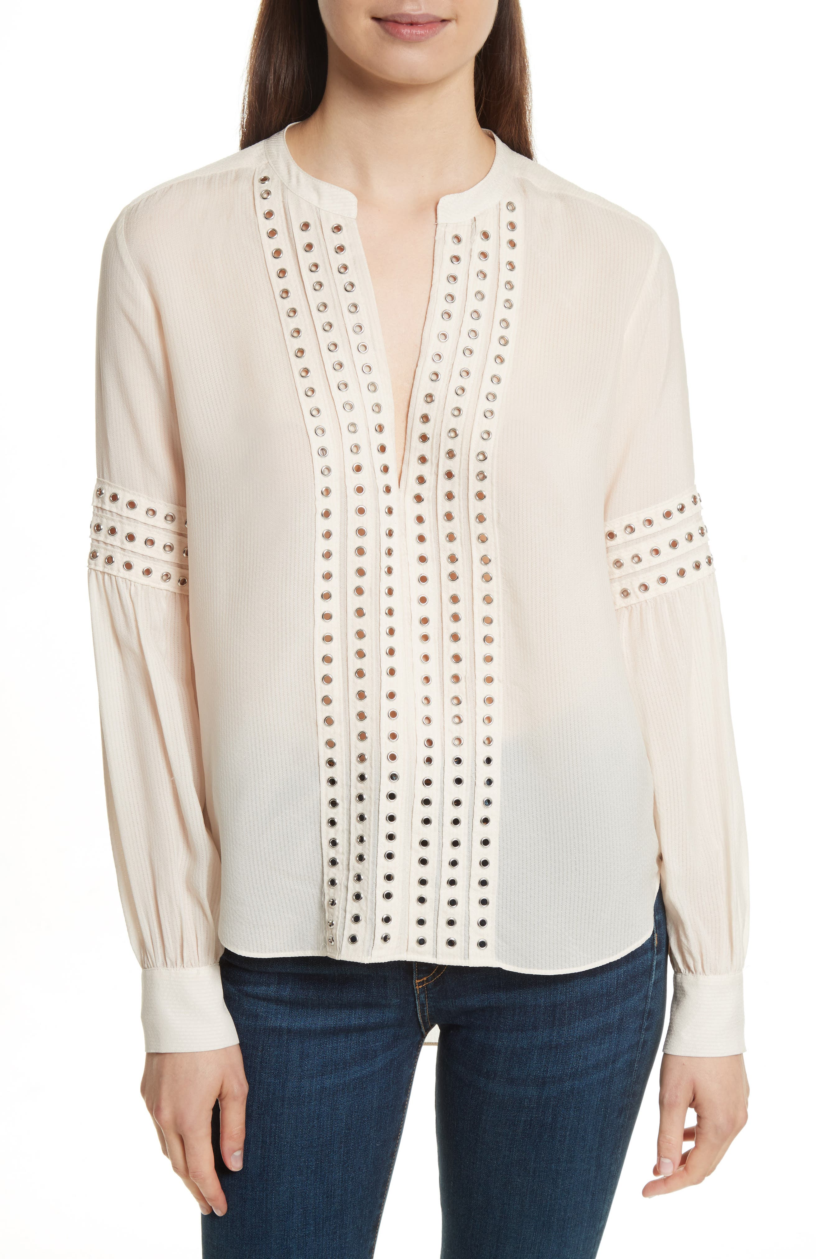 Veronica Beard Willa Eyelet Trim Blouse