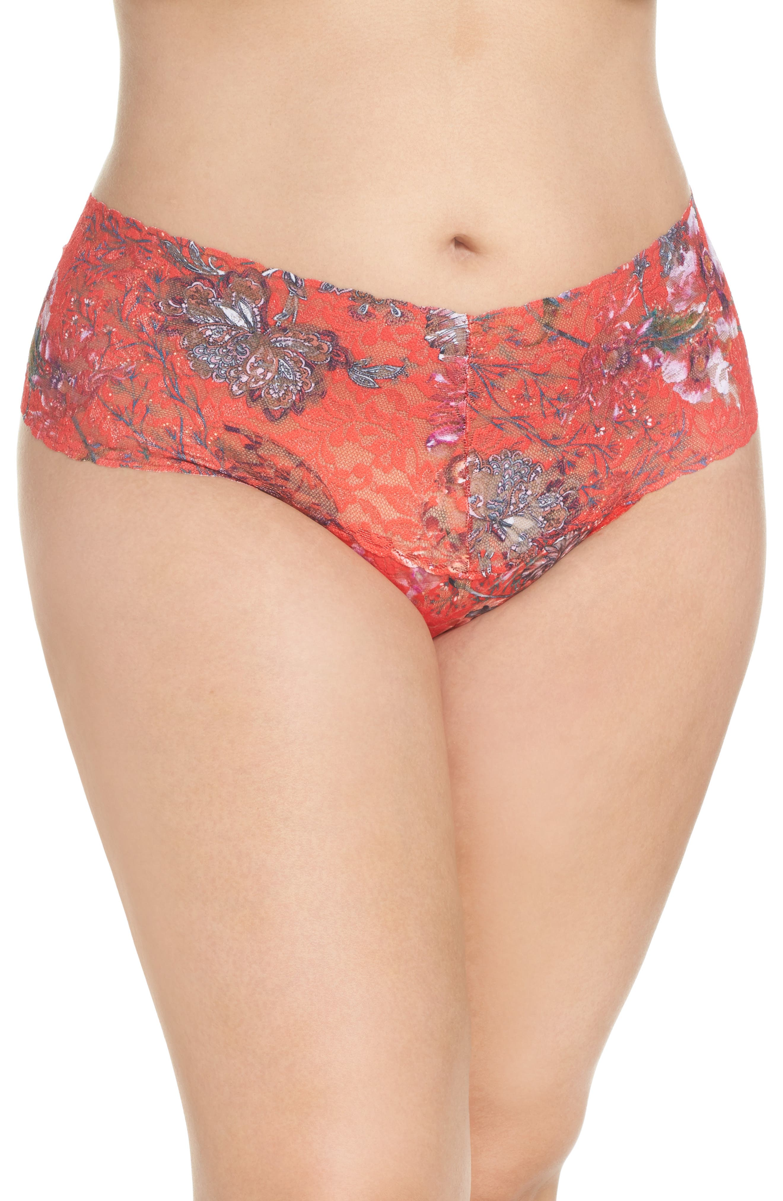 Fiery Floral Thong,                         Main,                         color, Red Multi