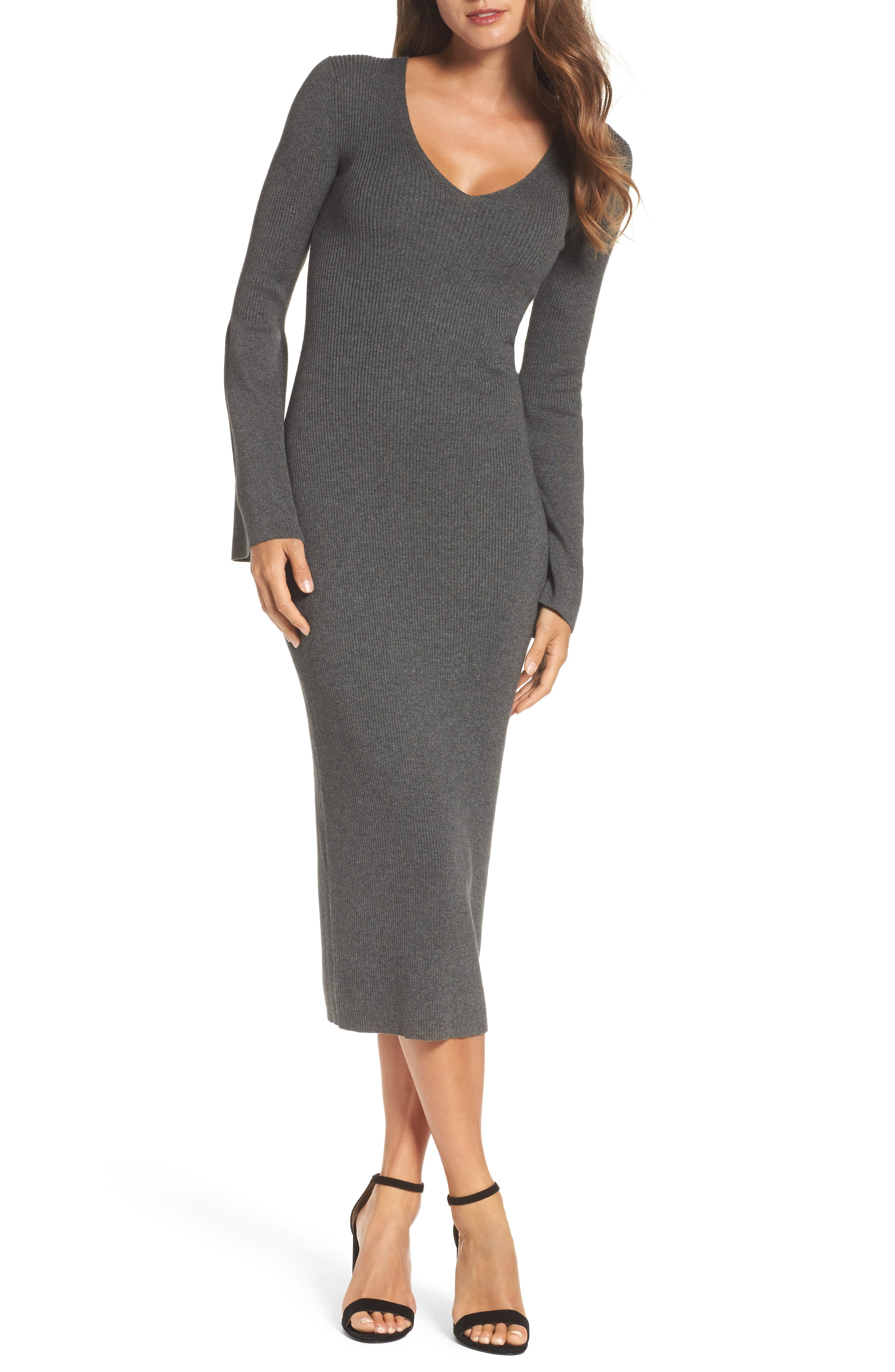 Virgie Knits Midi Dress,                             Main thumbnail 1, color,                             Charcoal