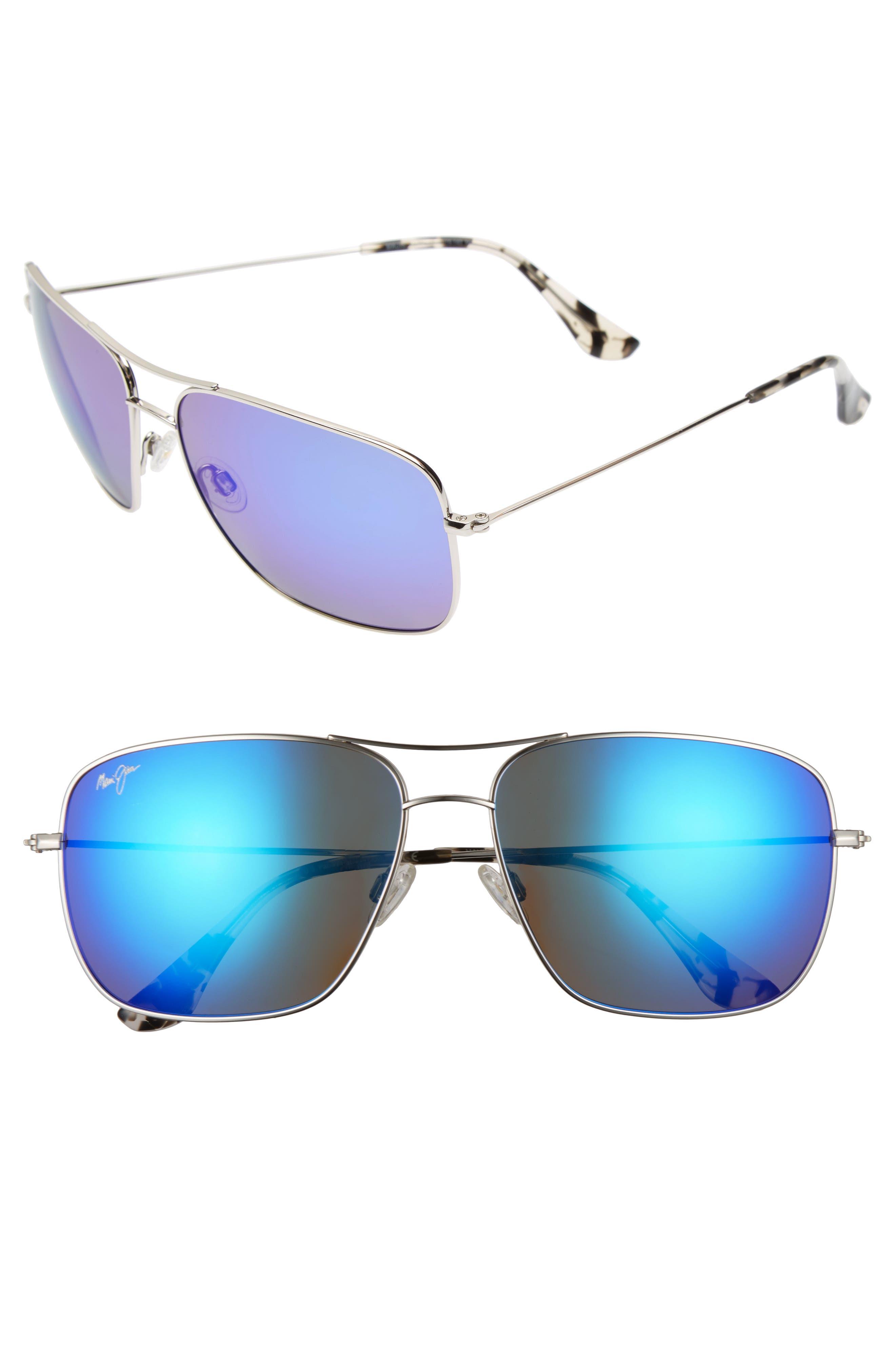 Cook Pines 63mm Polarized Titanium Aviator Sunglasses,                         Main,                         color, Silver/ Blue Hawaii