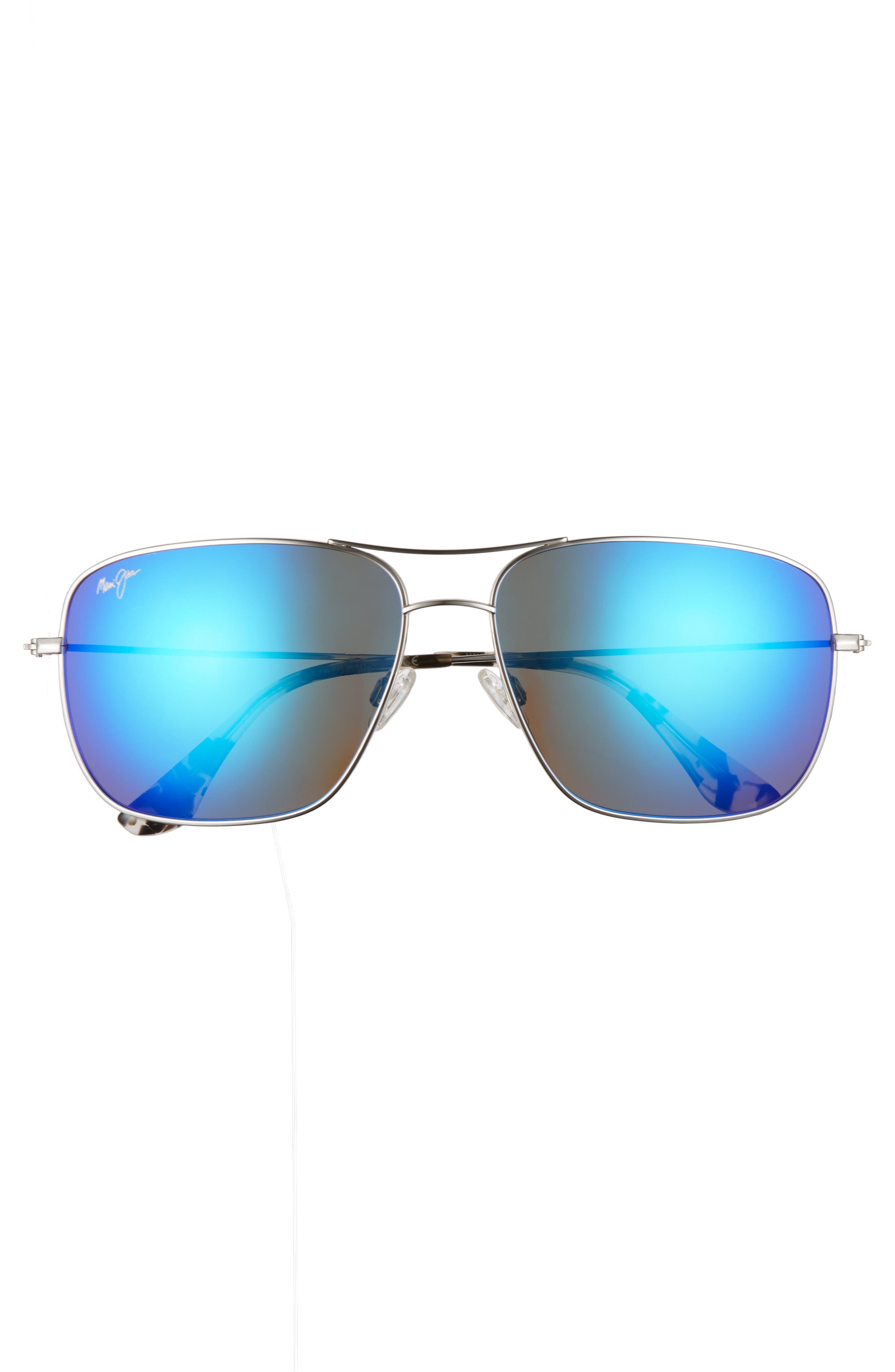 Cook Pines 63mm Polarized Titanium Aviator Sunglasses,                             Alternate thumbnail 3, color,                             Silver/ Blue Hawaii