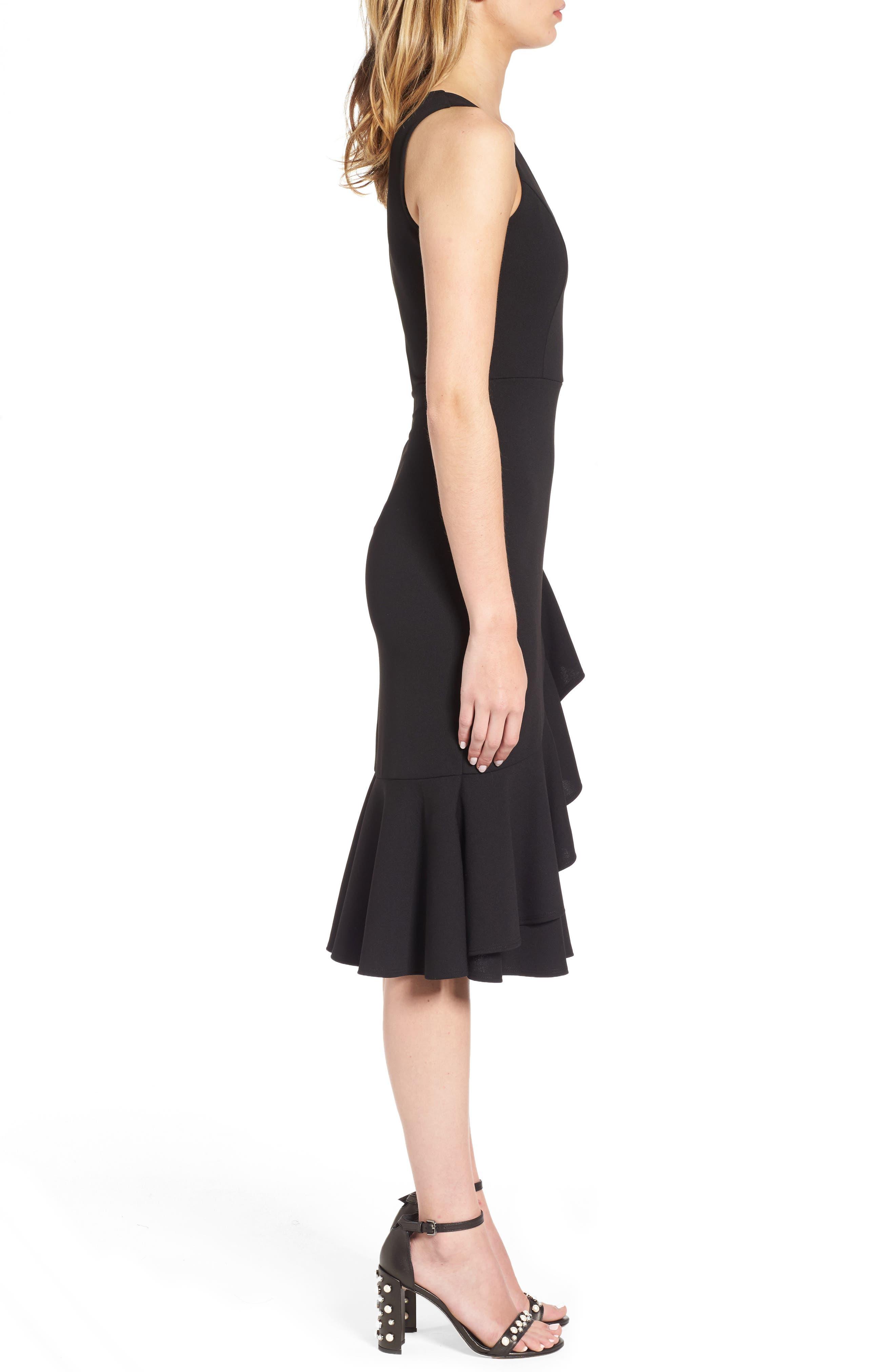 Ruffle Hem Dress,                             Alternate thumbnail 3, color,                             Black