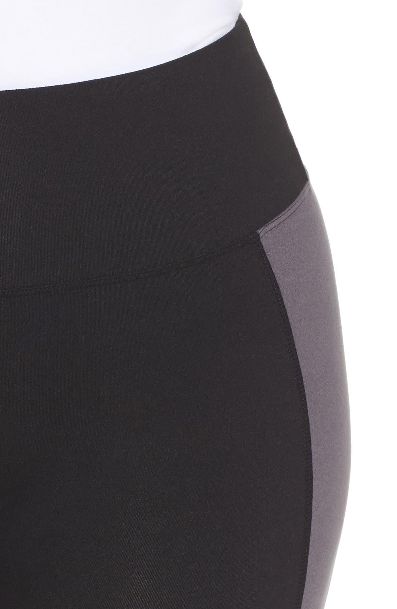 Colorblock Leggings,                             Alternate thumbnail 6, color,                             Black/ Push-Up Pink