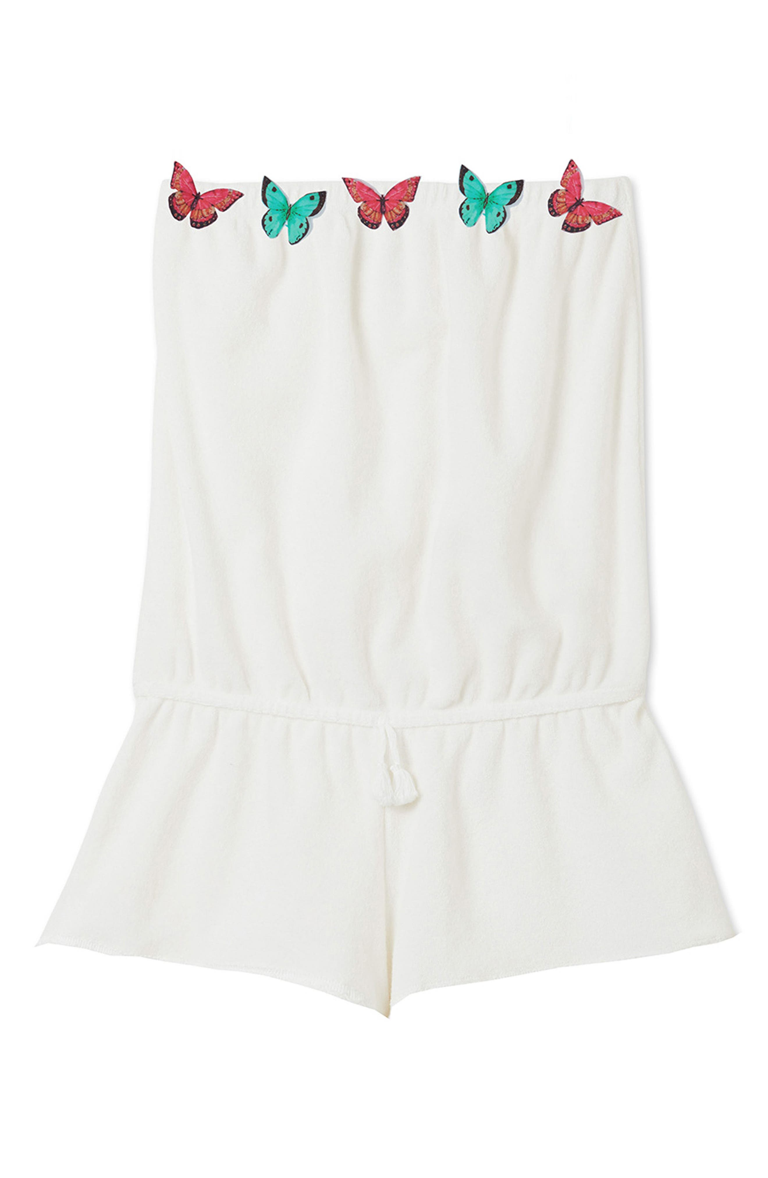 Butterfly Strapless Cover-Up Romper,                         Main,                         color, White