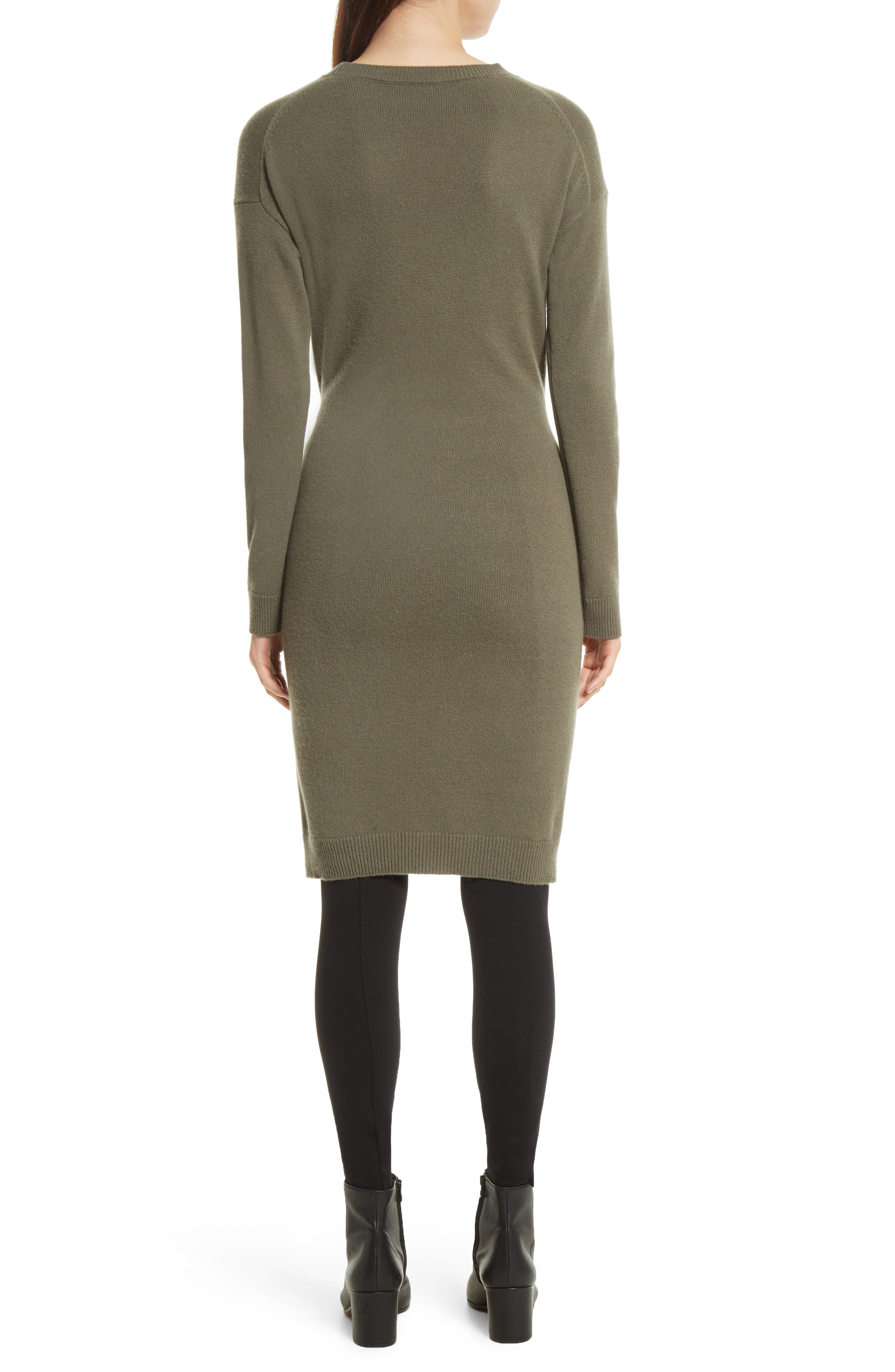 Long Sleeve Tie Waist Sweater Dress,                             Alternate thumbnail 2, color,                             Olivewood