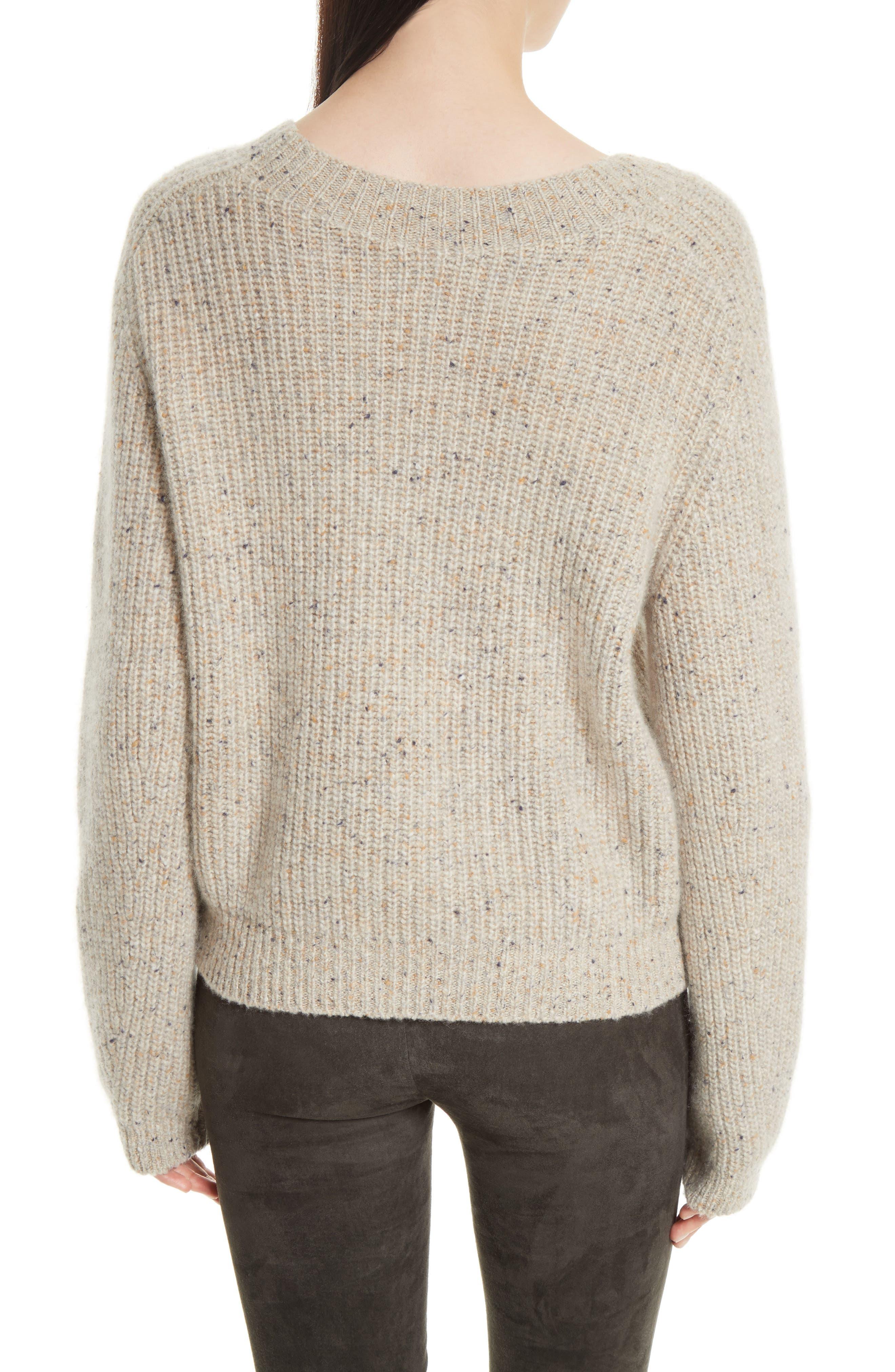 Saddle Sleeve Cashmere Sweater,                             Alternate thumbnail 2, color,                             Light Cream
