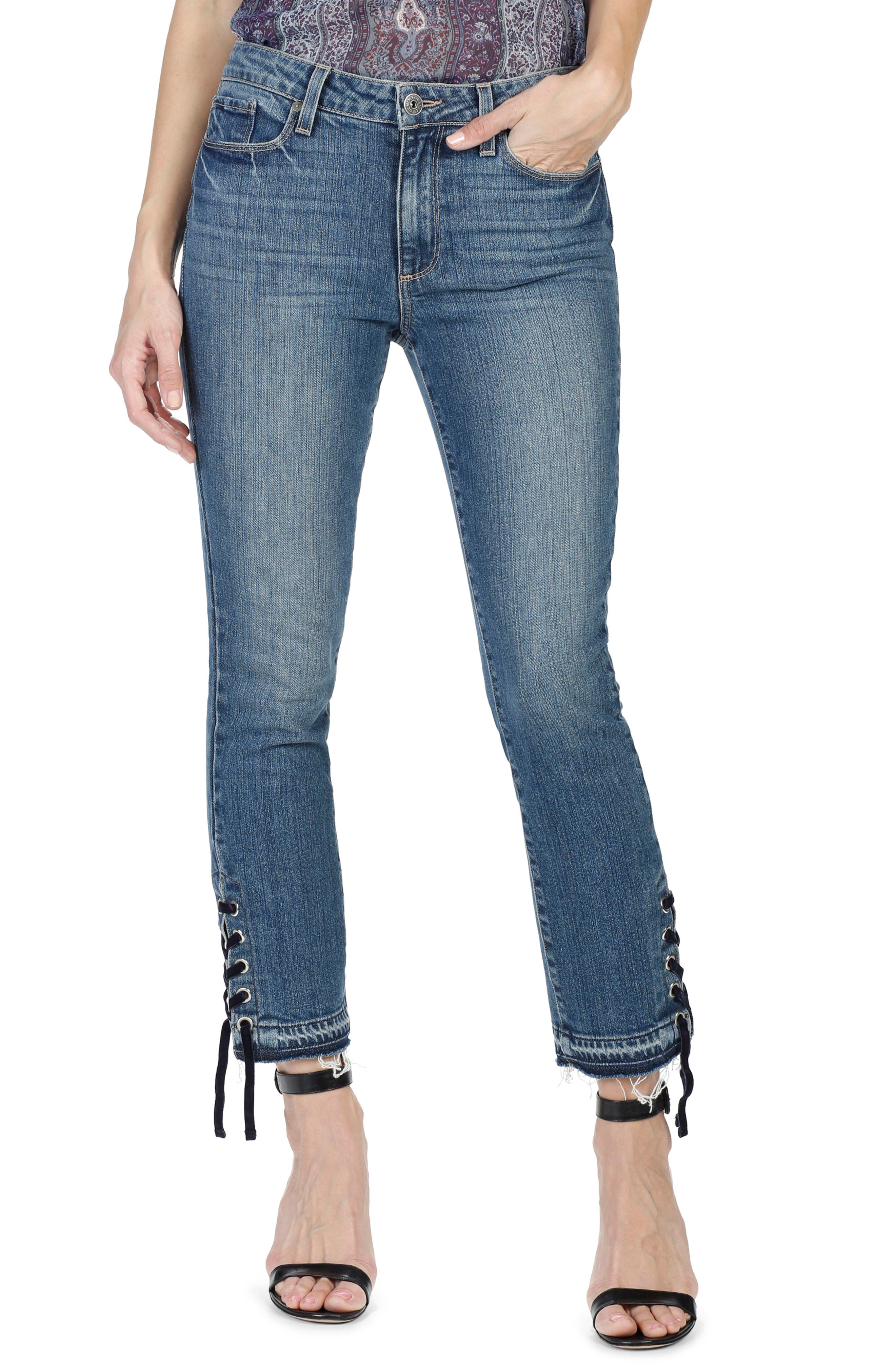 Alternate Image 1 Selected - PAIGE Jacqueline High Waist Straight Leg Jeans (Lacey Indigo)