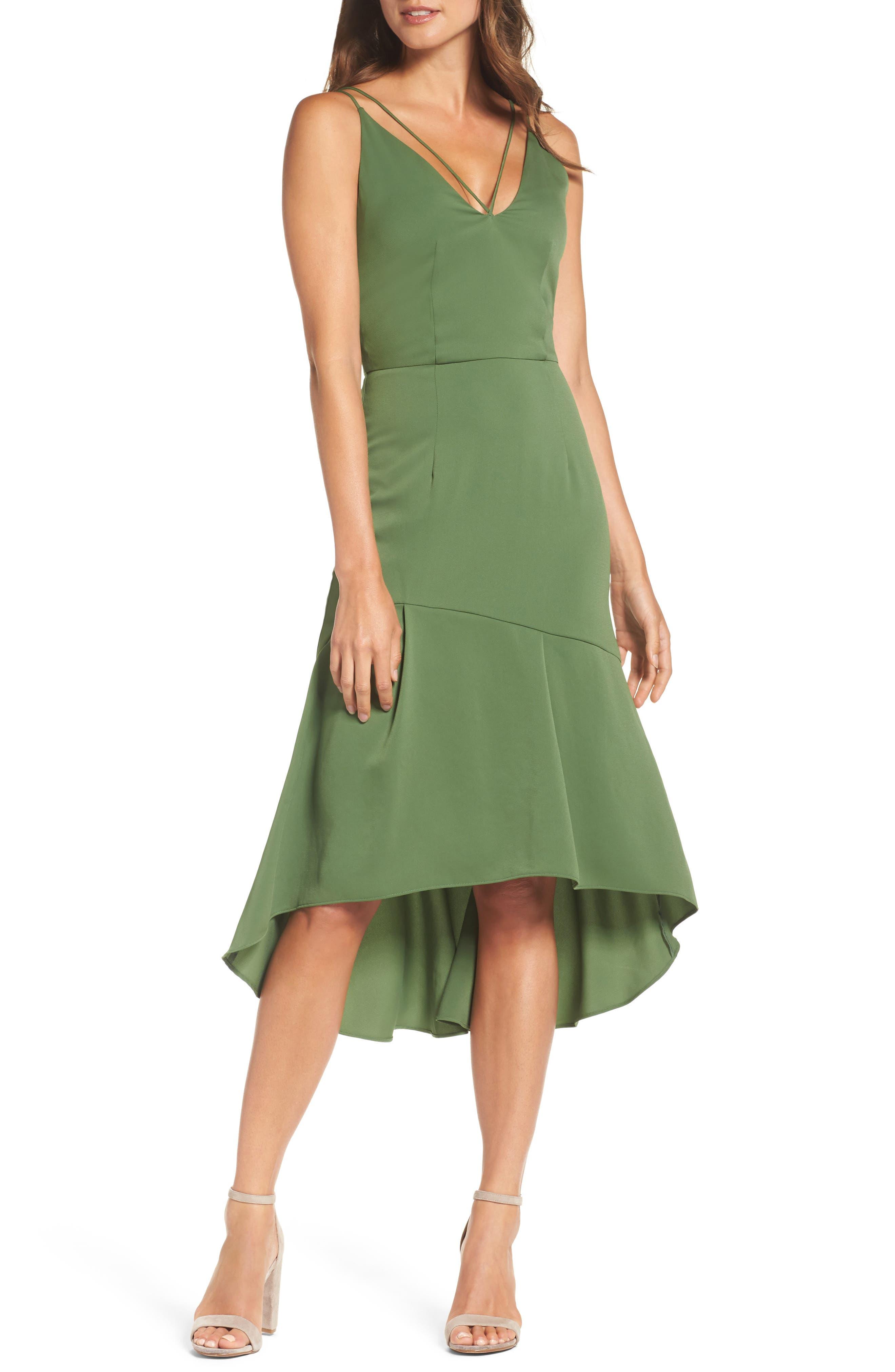 Lovine Midi Dress,                             Main thumbnail 1, color,                             Moss Green