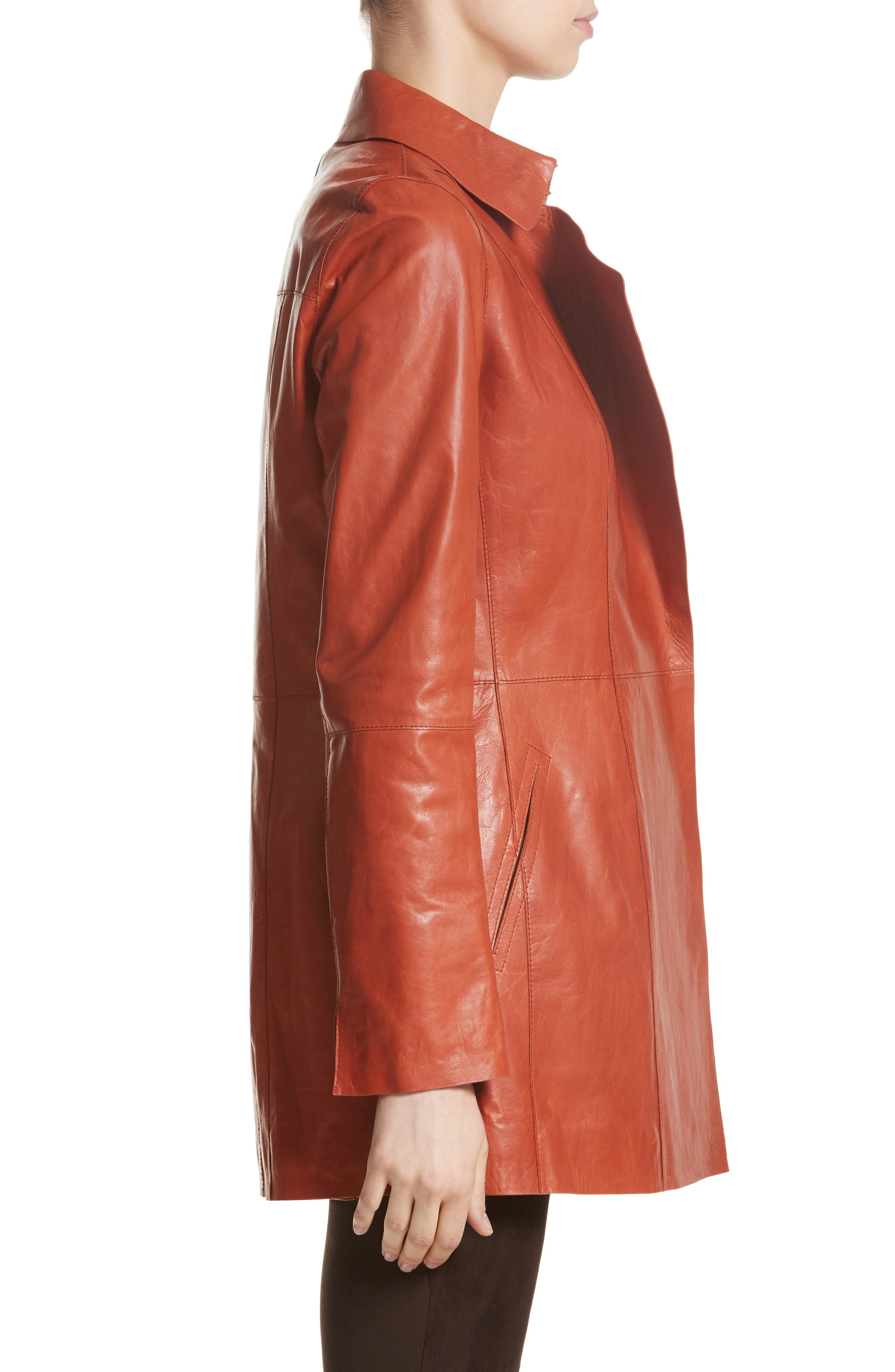 Alternate Image 3  - Lafayette 148 New York Leather Trench