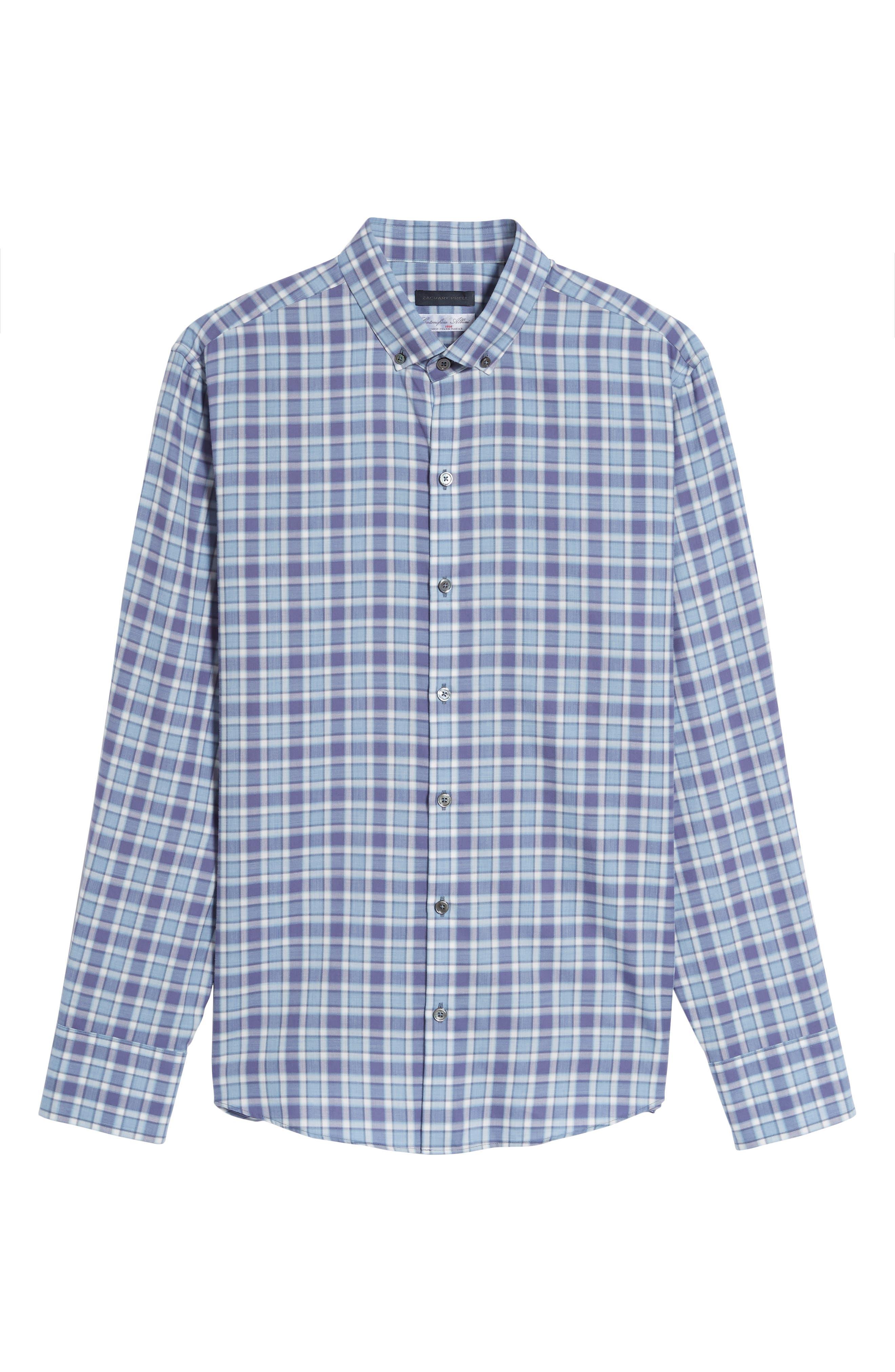 Lobban Slim Fit Check Sport Shirt,                             Alternate thumbnail 6, color,                             Purple