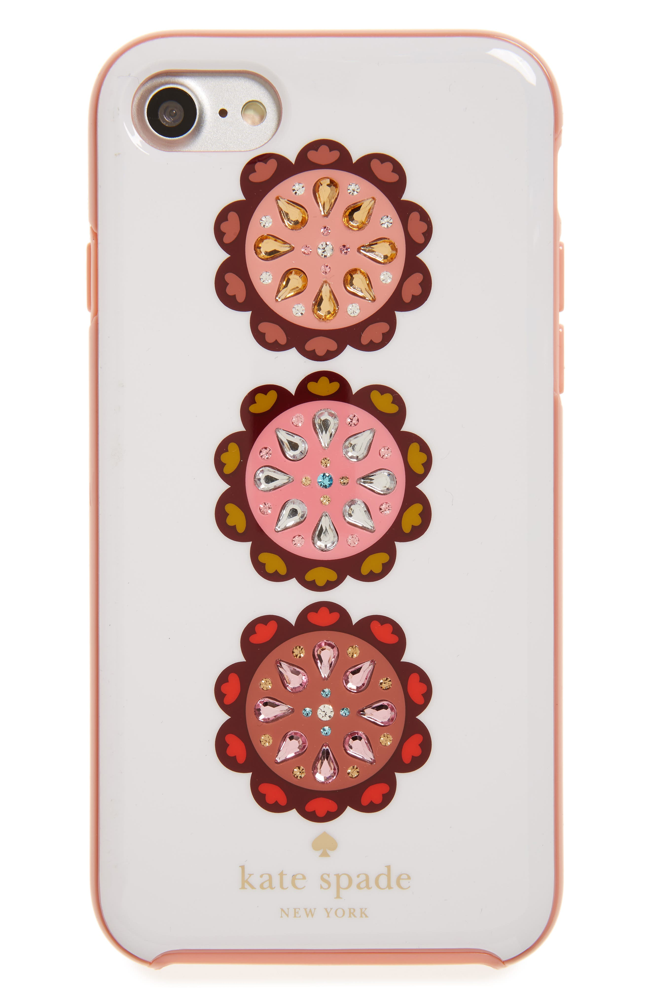 Alternate Image 1 Selected - kate spade new york jeweled turtles iPhone 7/8 & 7/8 Plus case