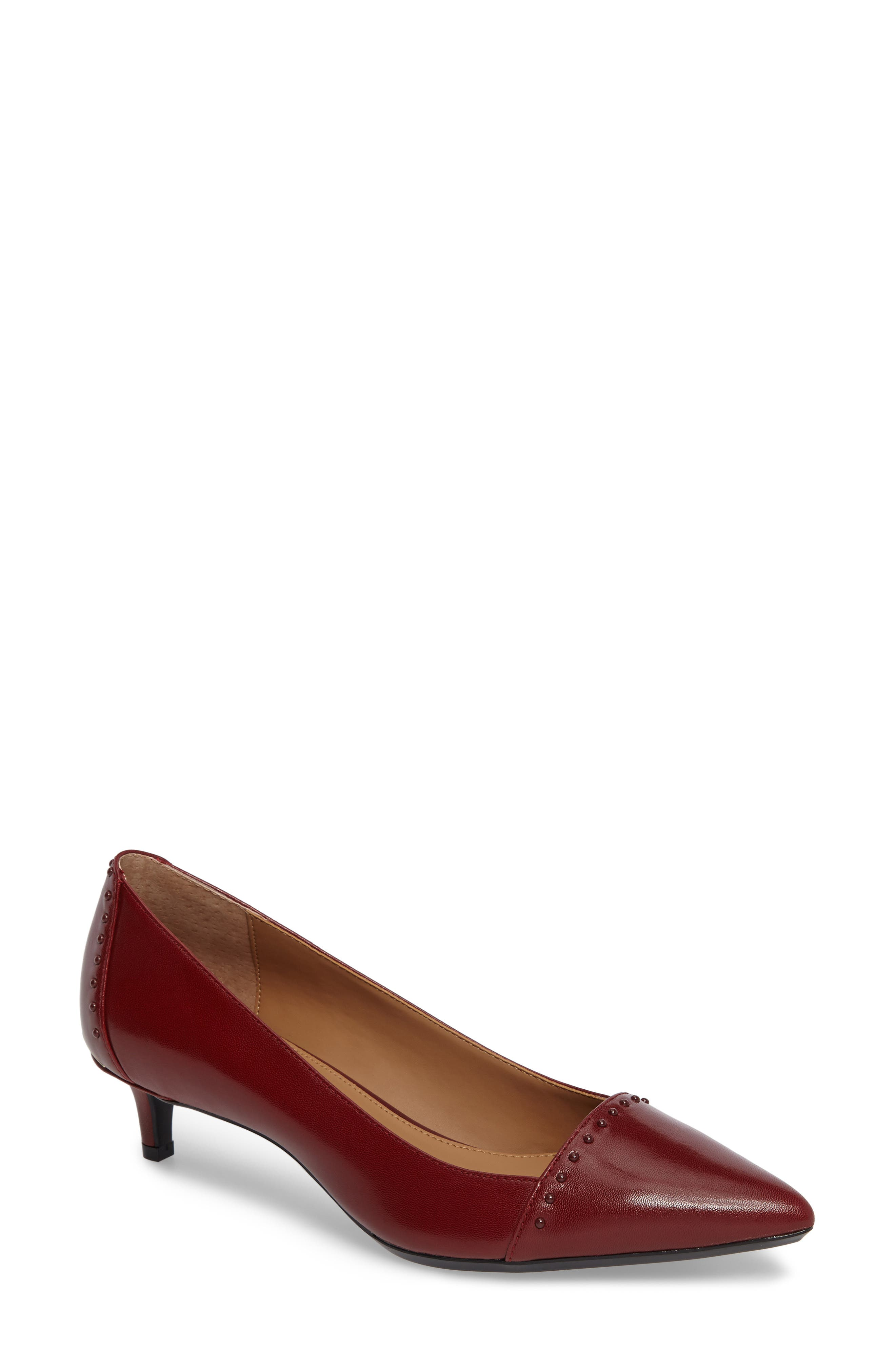 Griselda Studded Cap Toe Pump,                         Main,                         color, Cherry Red