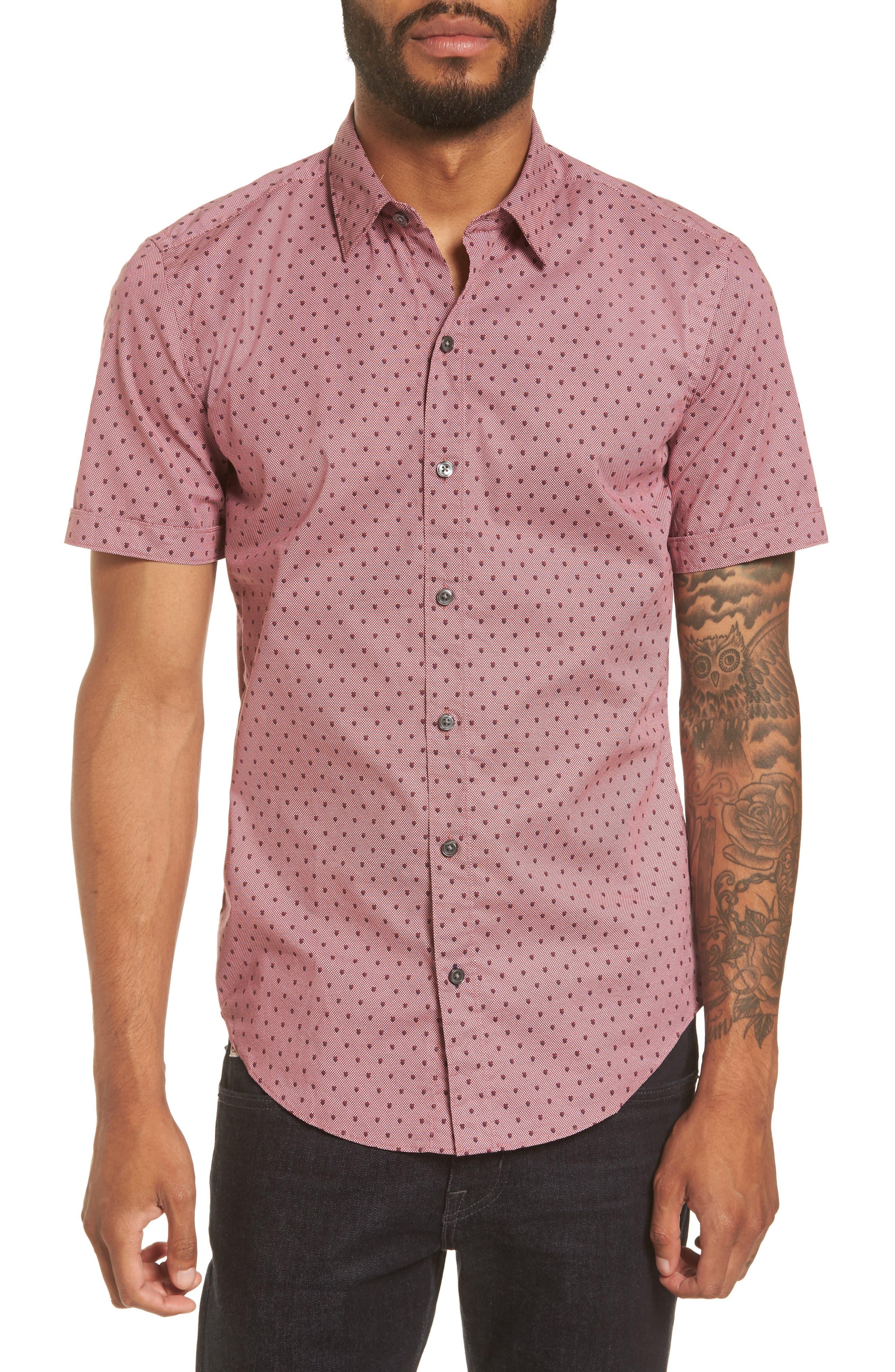 Robb Sharp Fit Print Sport Shirt,                             Main thumbnail 1, color,                             Red