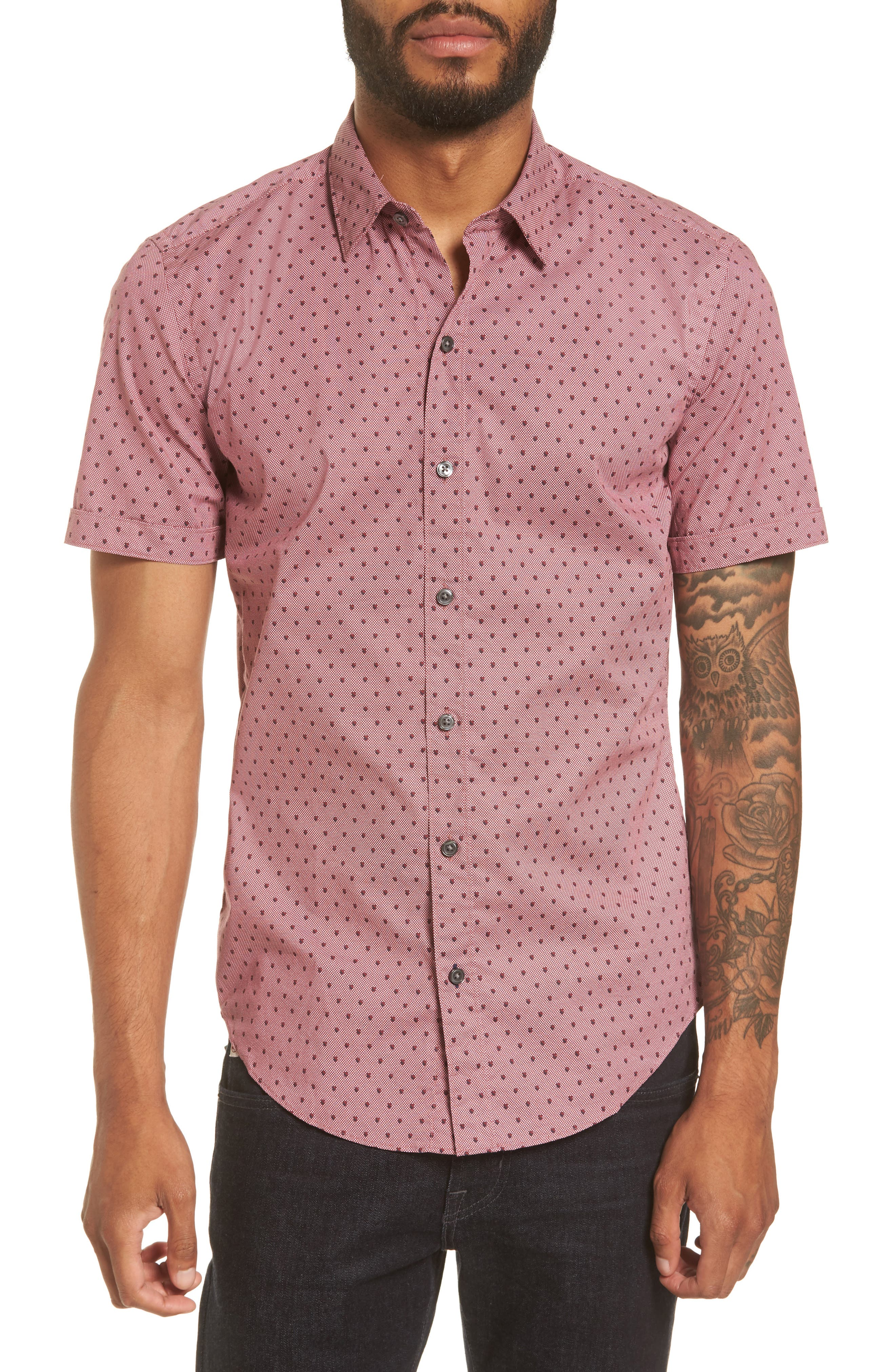 Robb Sharp Fit Print Sport Shirt,                         Main,                         color, Red