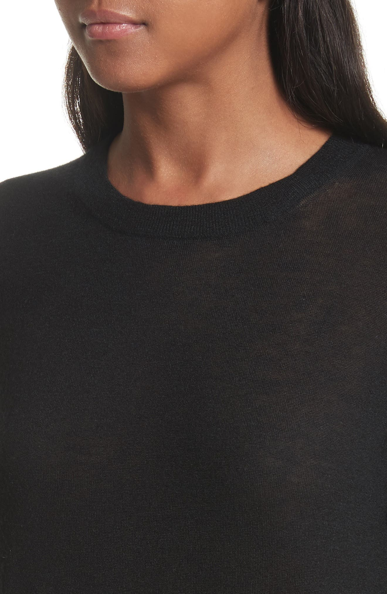 Crewneck Cashmere Sweater,                             Alternate thumbnail 4, color,                             Black