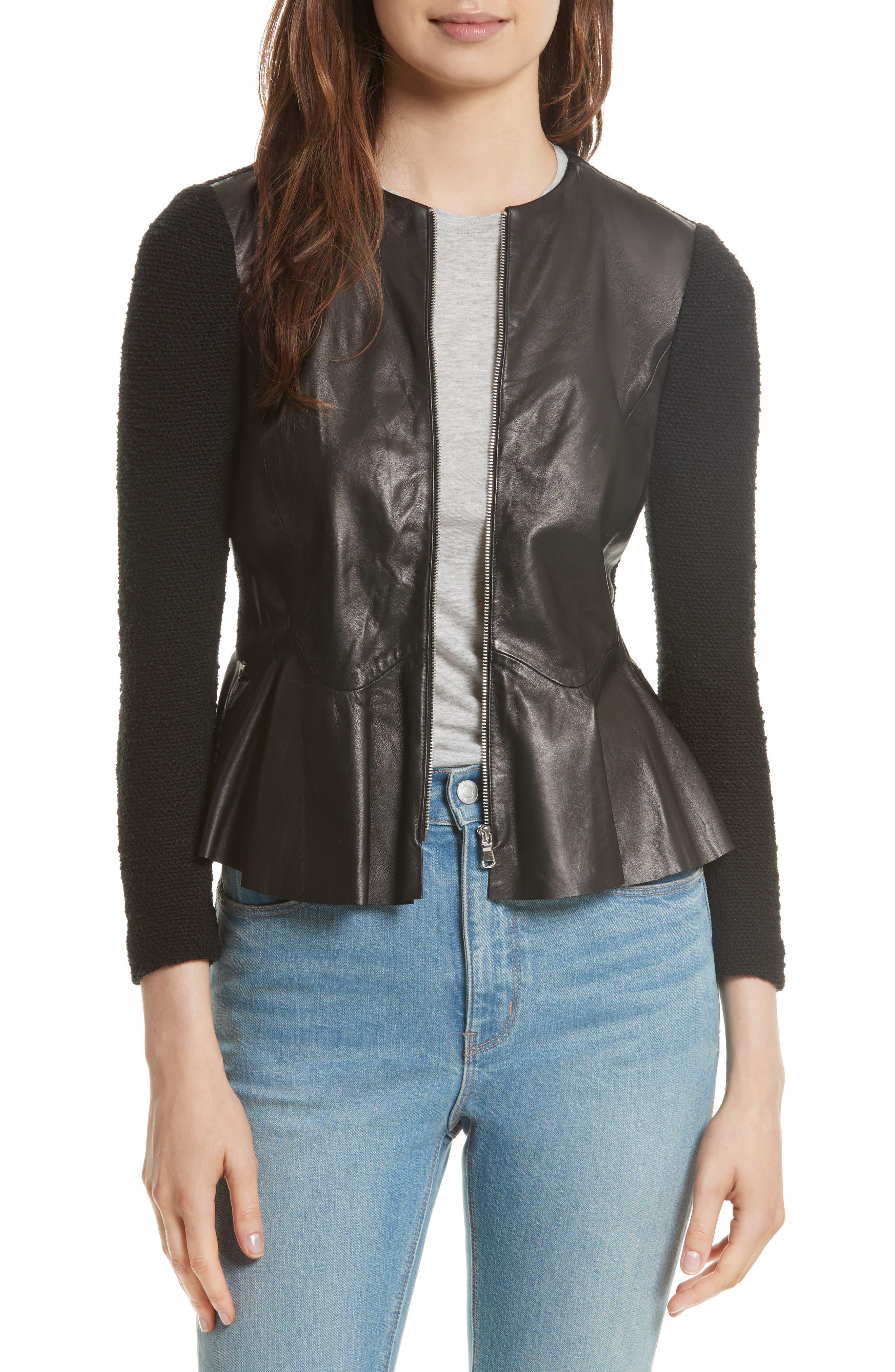 Knit & Lambskin Leather Jacket,                         Main,                         color, Black