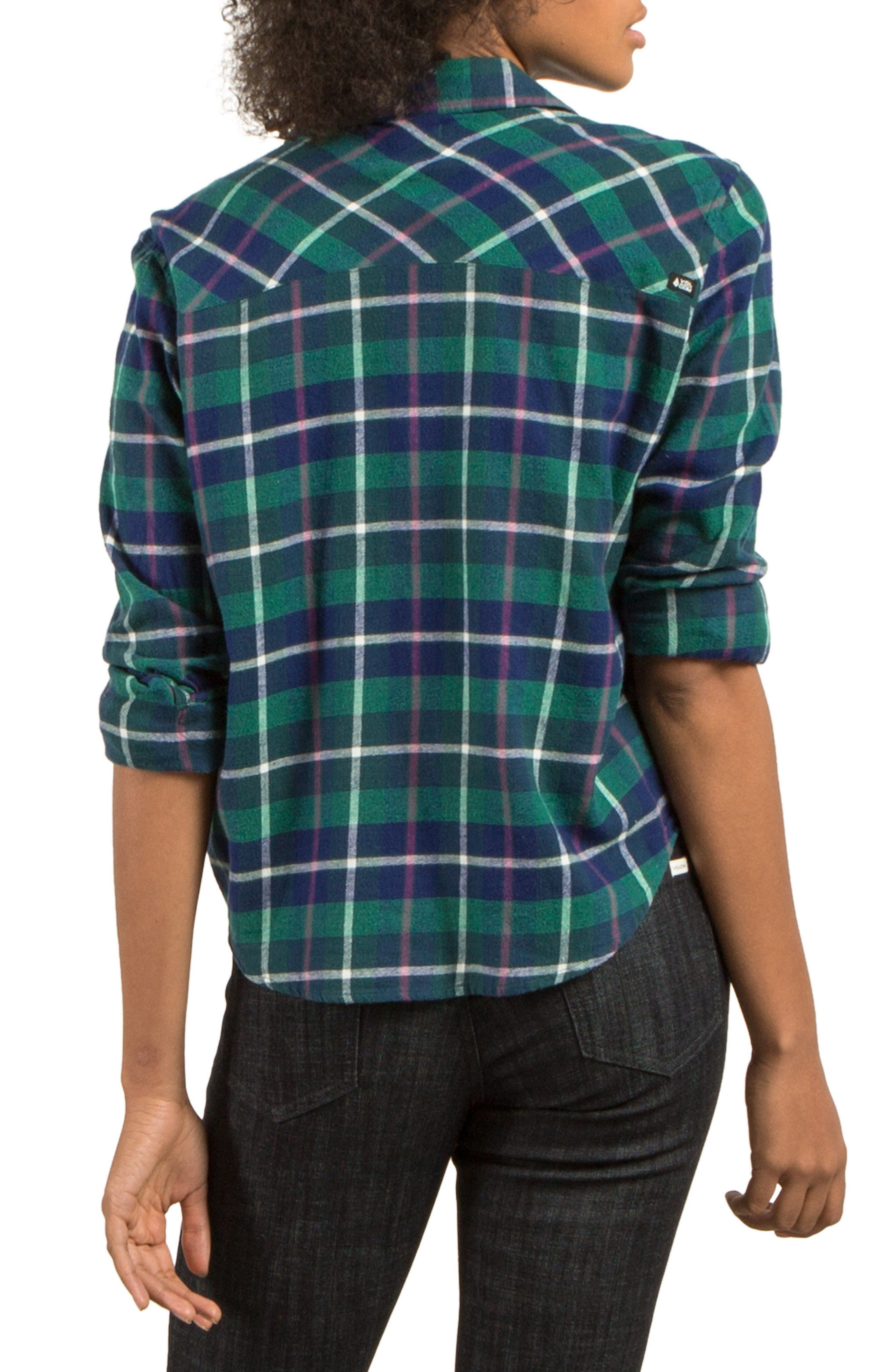 New Flame Plaid Flannel Shirt,                             Alternate thumbnail 2, color,                             Midnight Green