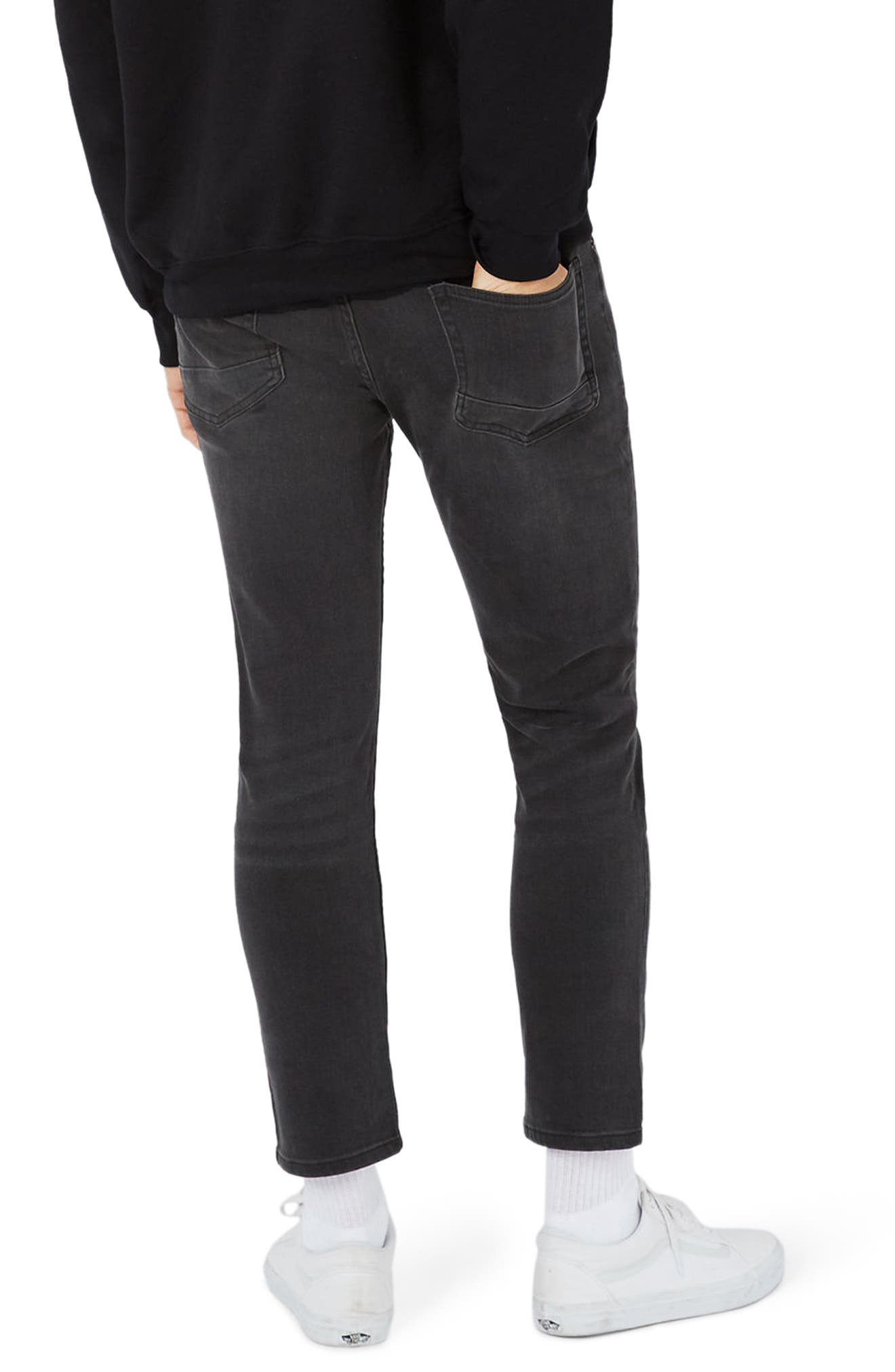 Alternate Image 3  - Topman Stretch Slim Fit Crop Jeans