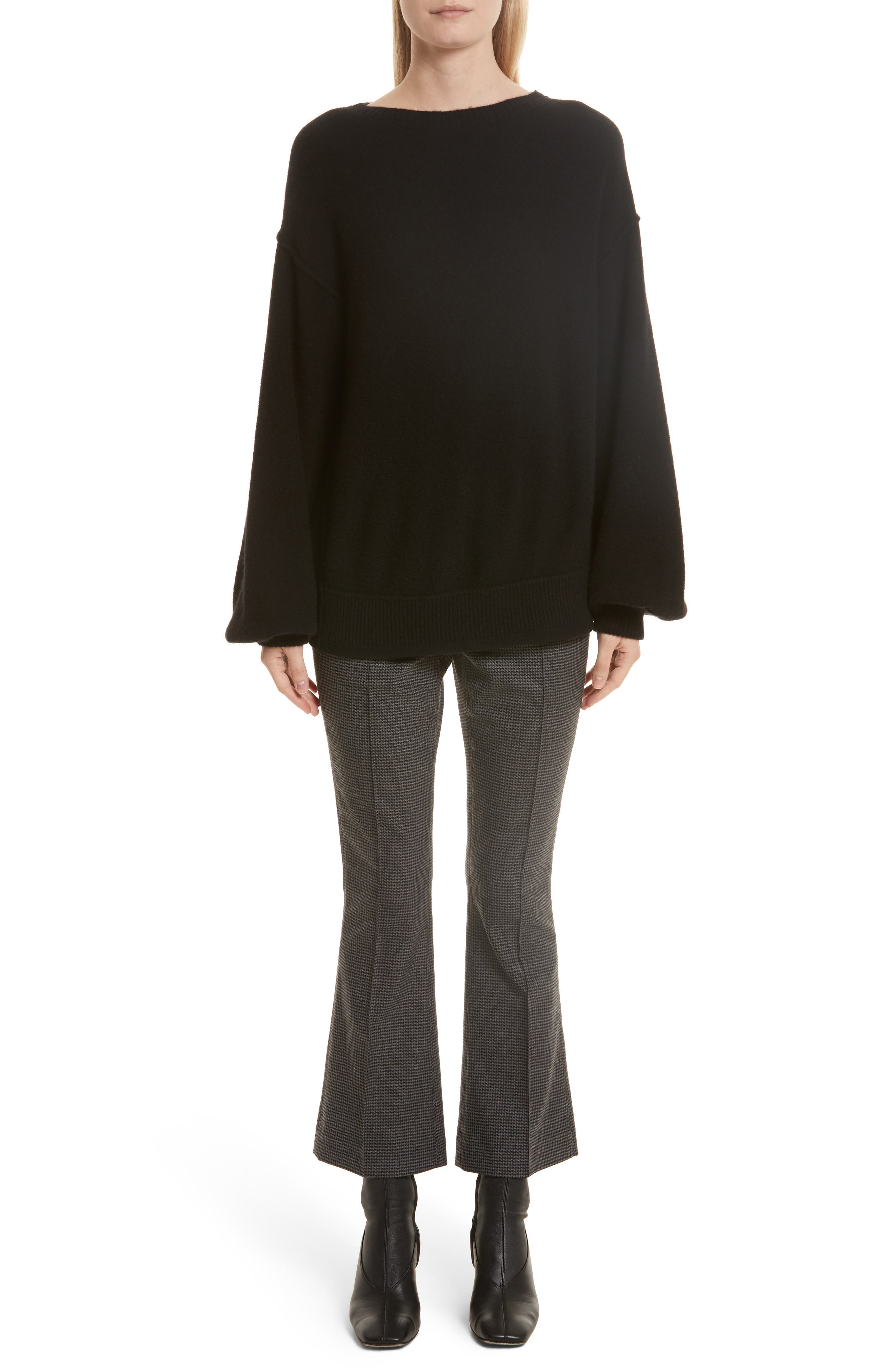 Balloon Sleeve Wool & Cashmere Sweater,                             Alternate thumbnail 2, color,                             Black
