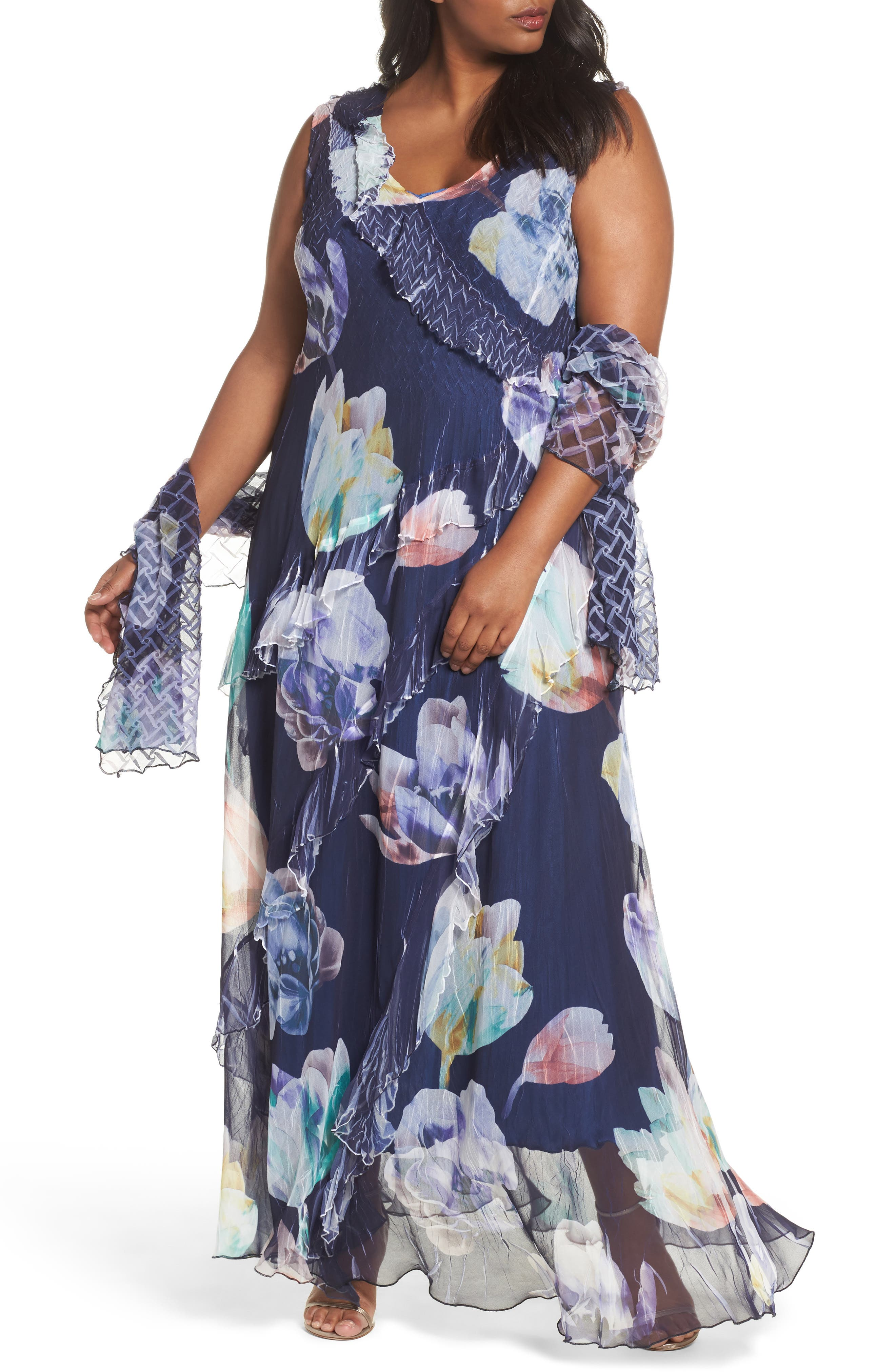Komarov Ruffle Maxi Dress with Wrap (Plus Size)