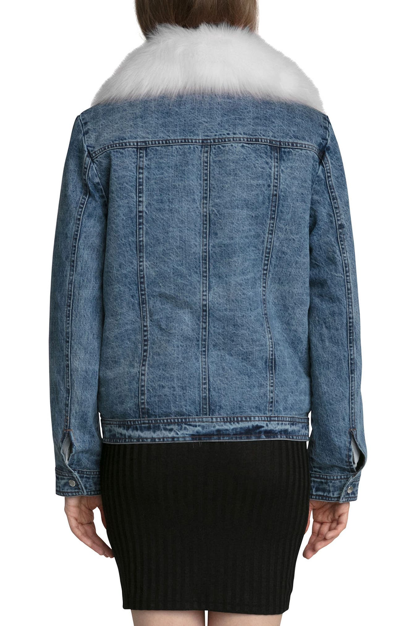 Alternate Image 3  - Avec Les Filles Denim Trucker Jacket with Removable Faux Fur Trim
