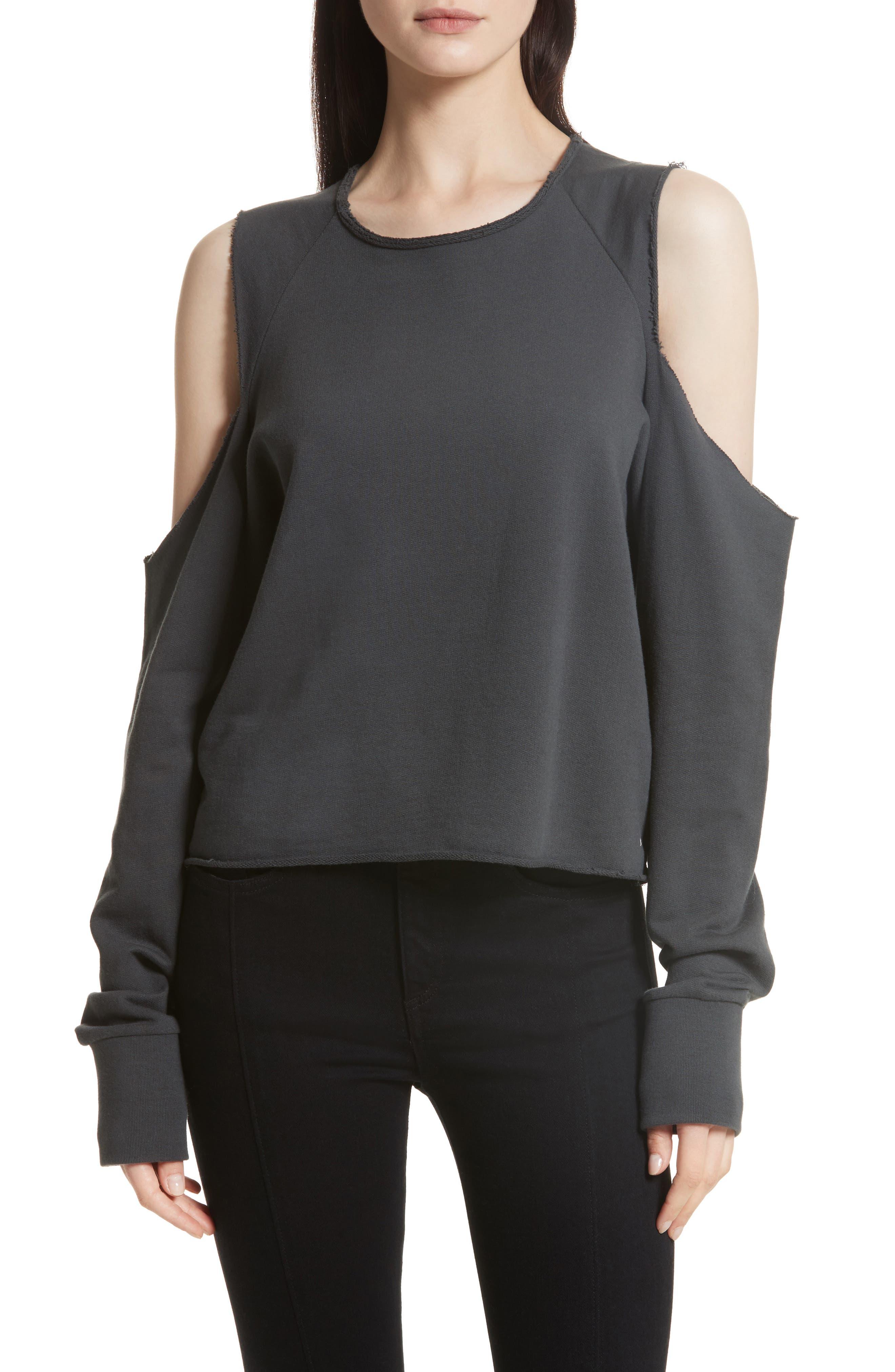 rag & bone/JEAN Standard Issue Cold Shoulder Sweatshirt