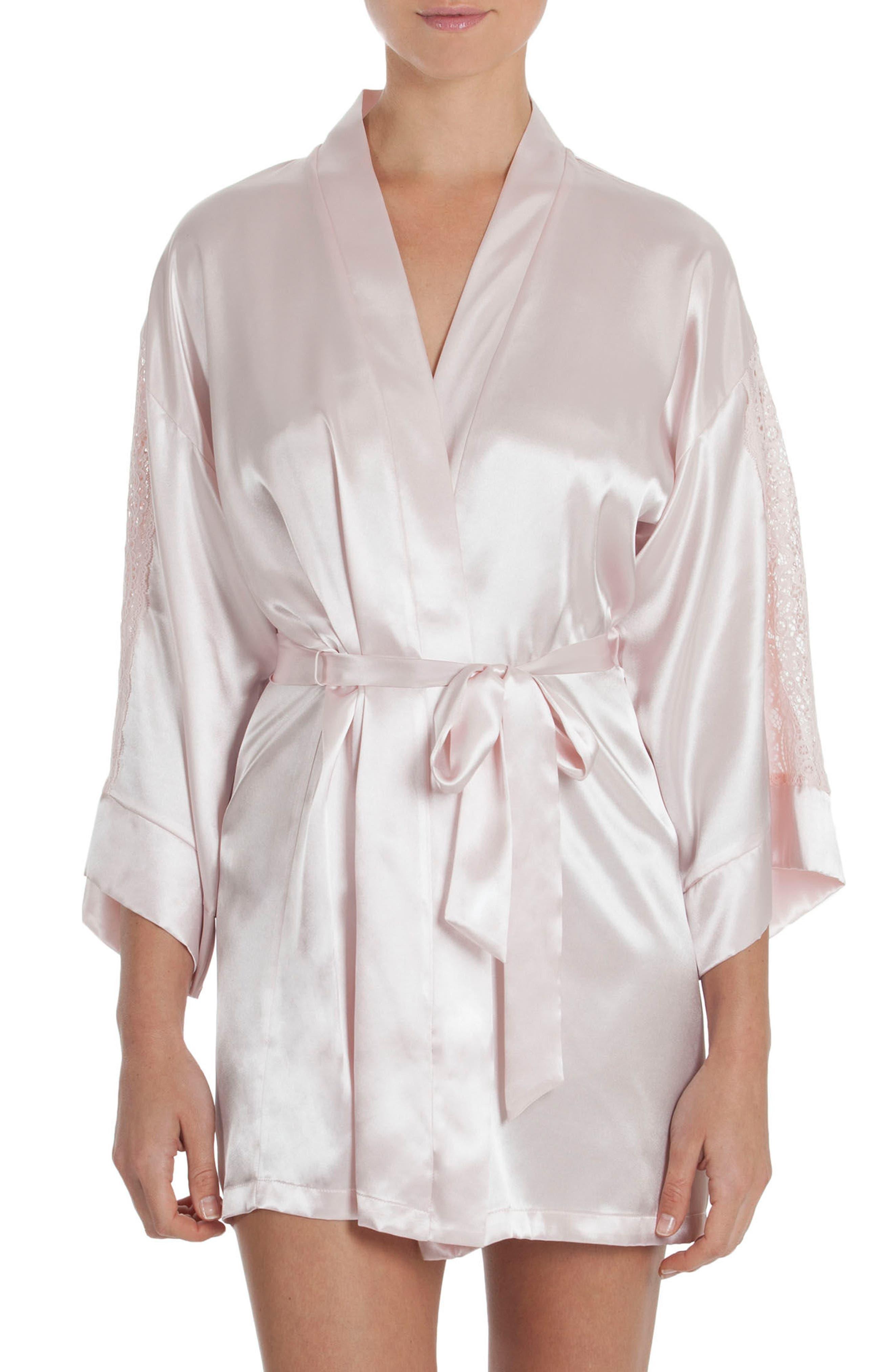Satin Robe,                         Main,                         color, Blush