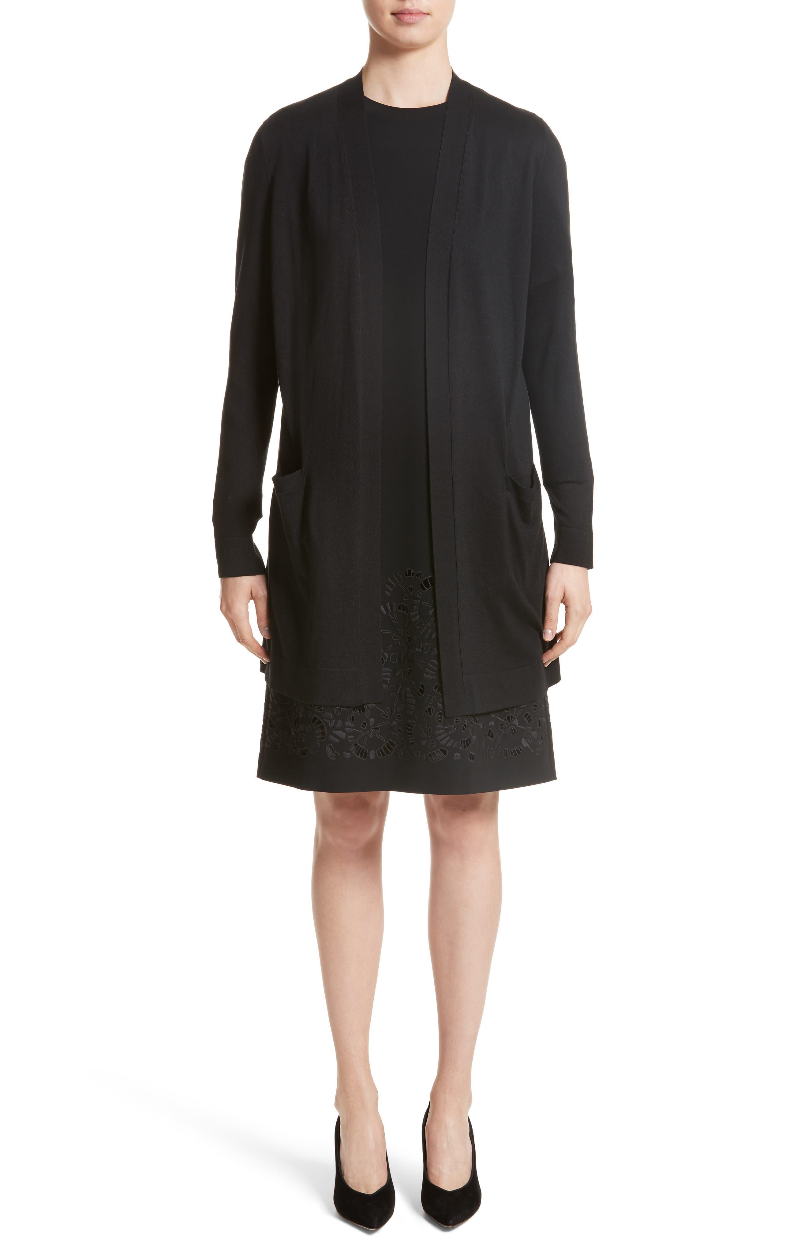 Corbin Embroidered Laser Cut Dress,                             Alternate thumbnail 8, color,                             Black