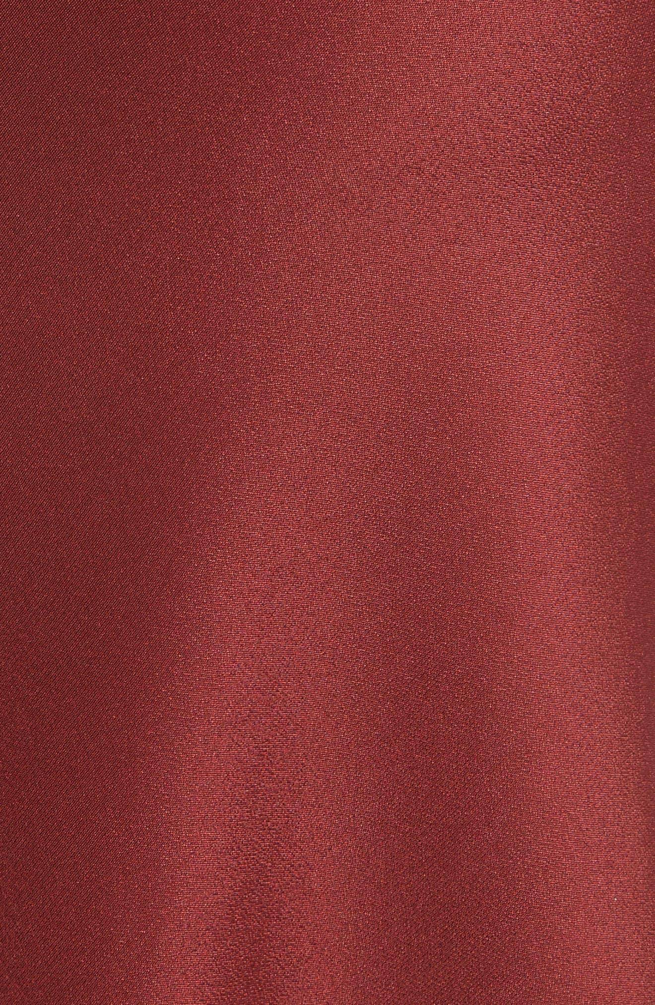 Silk Lingerie Dress,                             Alternate thumbnail 5, color,                             Burnt Red Multi