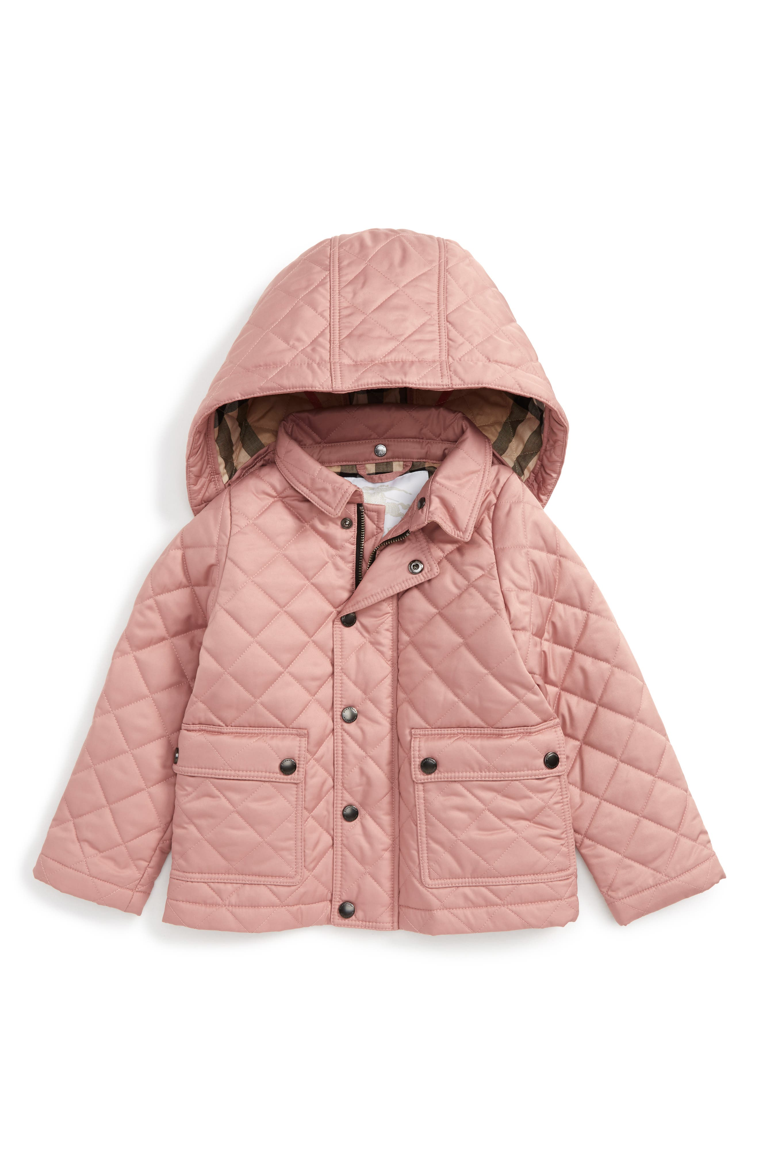 Main Image - Burberry Jamie Quilted Hooded Puffer Jacket (Toddler Girls)
