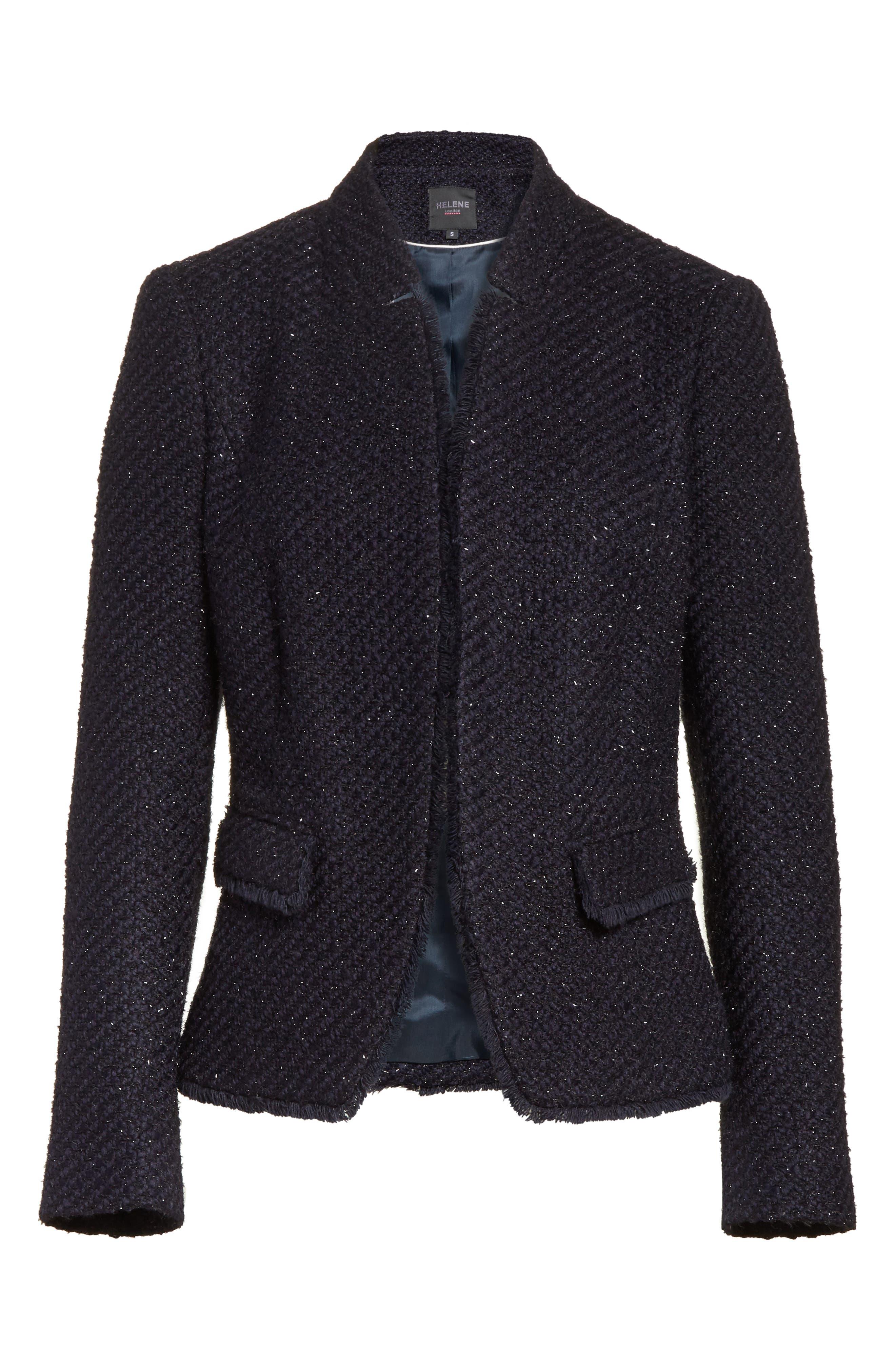 Glitter Tweed Jacket,                             Alternate thumbnail 6, color,                             Navy