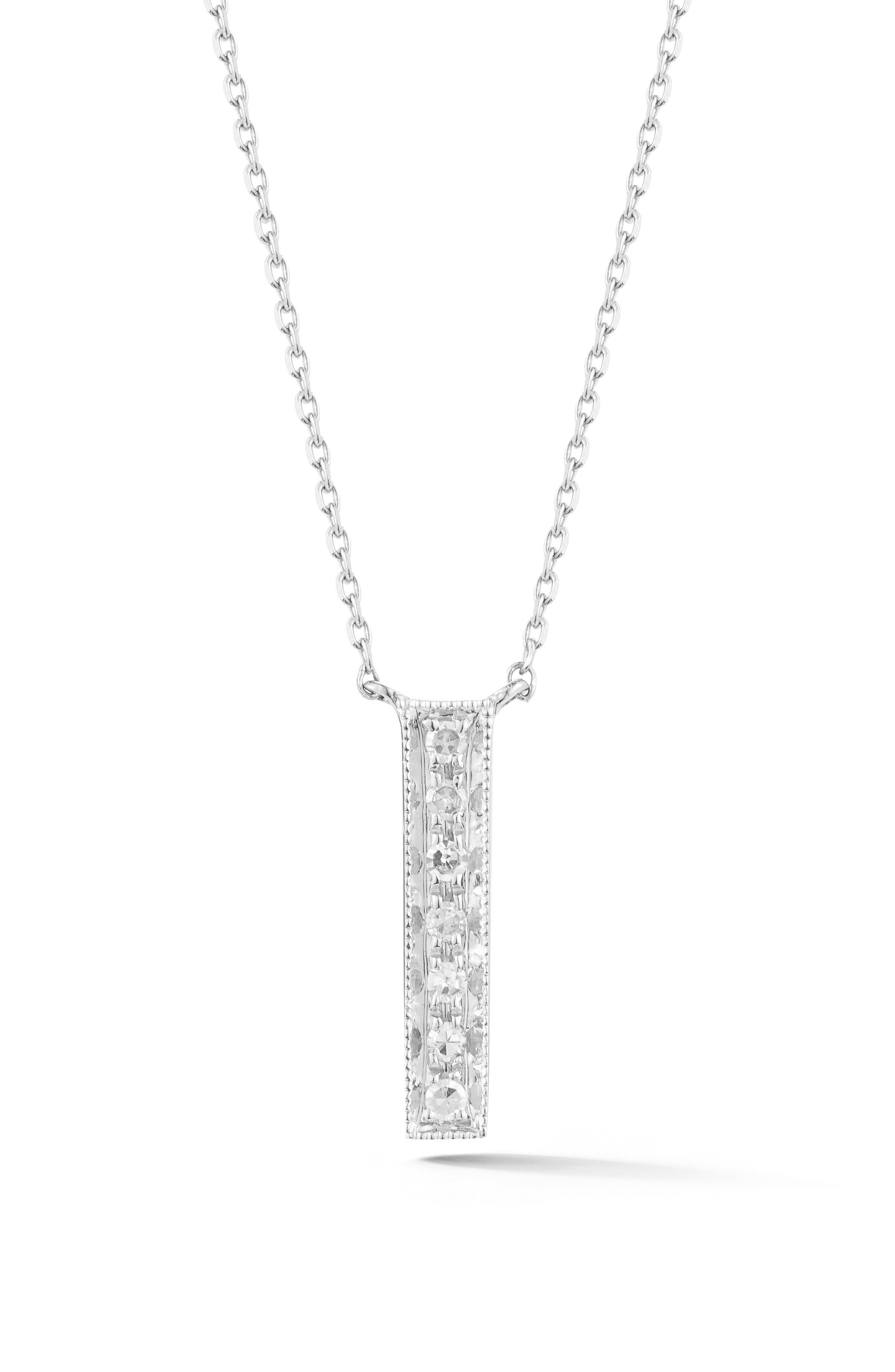 Dana Rebecca Designs Sylvie Rose Vertical Bar Diamond Pendant Necklace