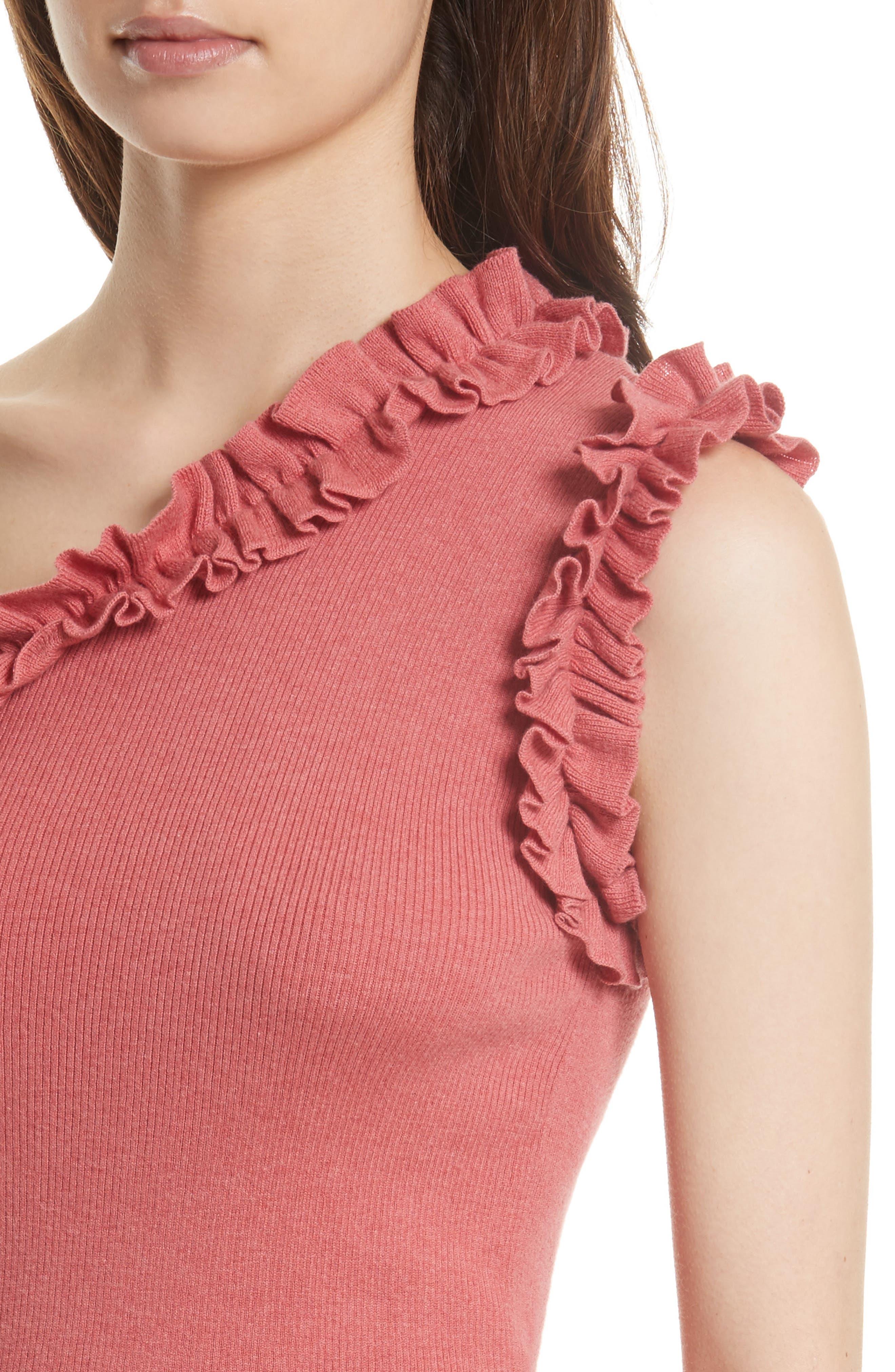 Alternate Image 4  - La Vie Rebecca Taylor Ruffle One-Shoulder Top