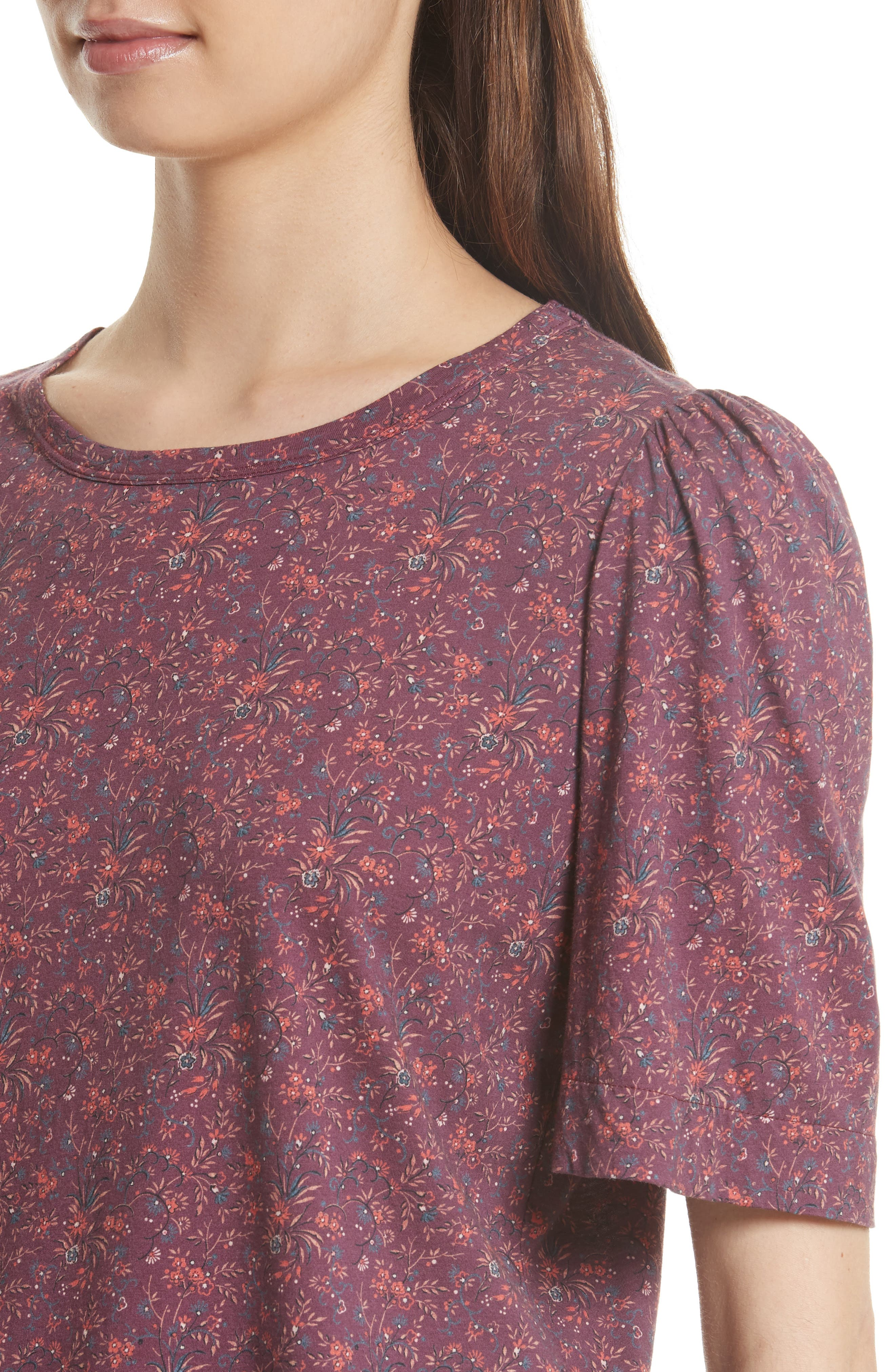 Rebecca Taylor Brittany Floral Jersey Top,                             Alternate thumbnail 4, color,                             Plum Combo
