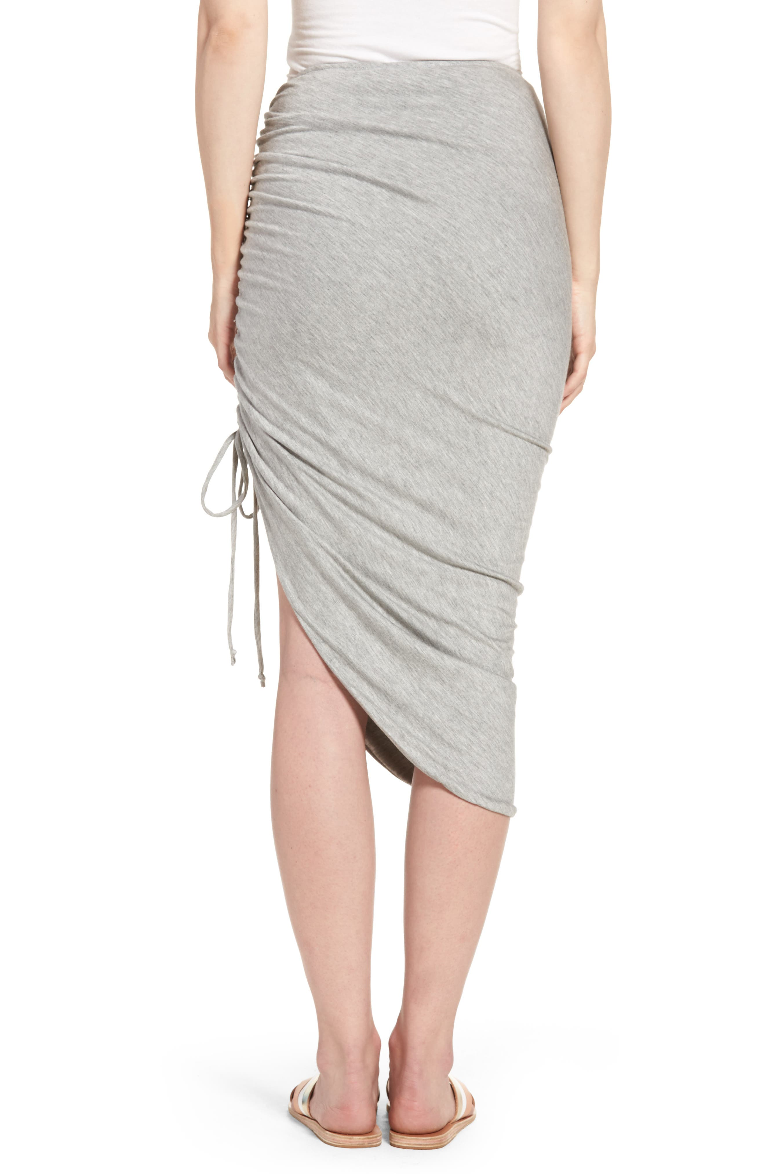 Zoe Ruched Knit Skirt,                             Alternate thumbnail 2, color,                             Heather Grey