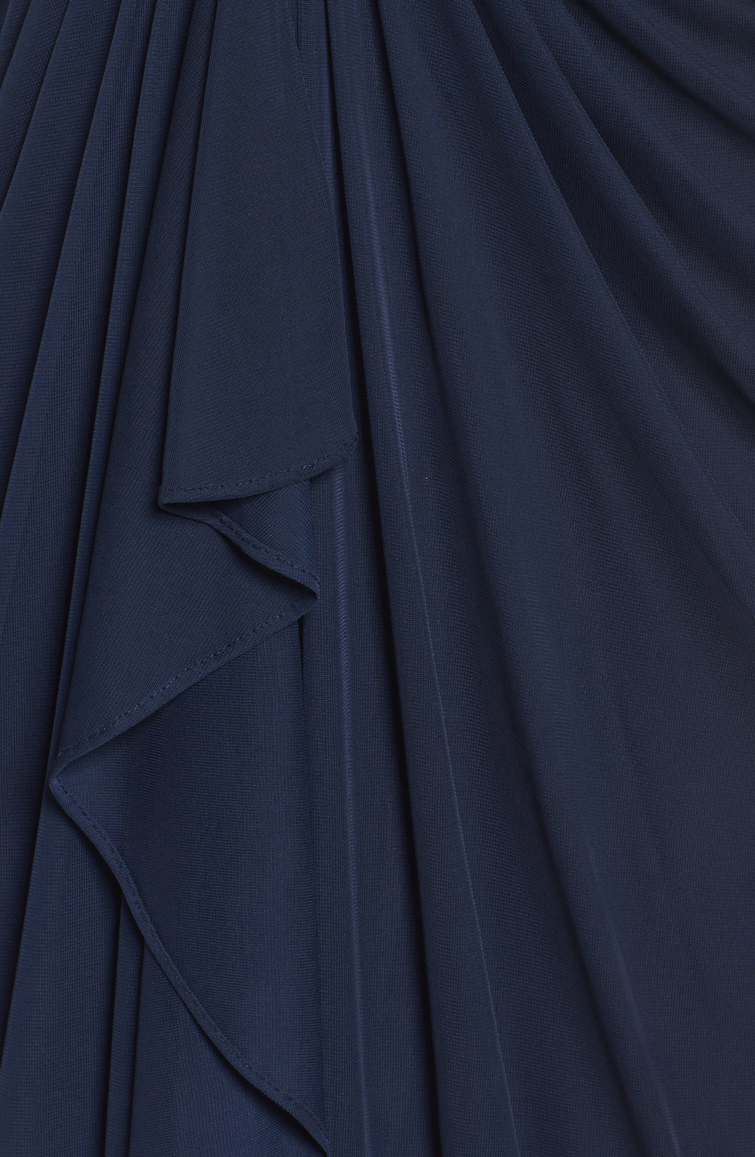Draped Mesh Gown,                             Alternate thumbnail 5, color,                             Navy