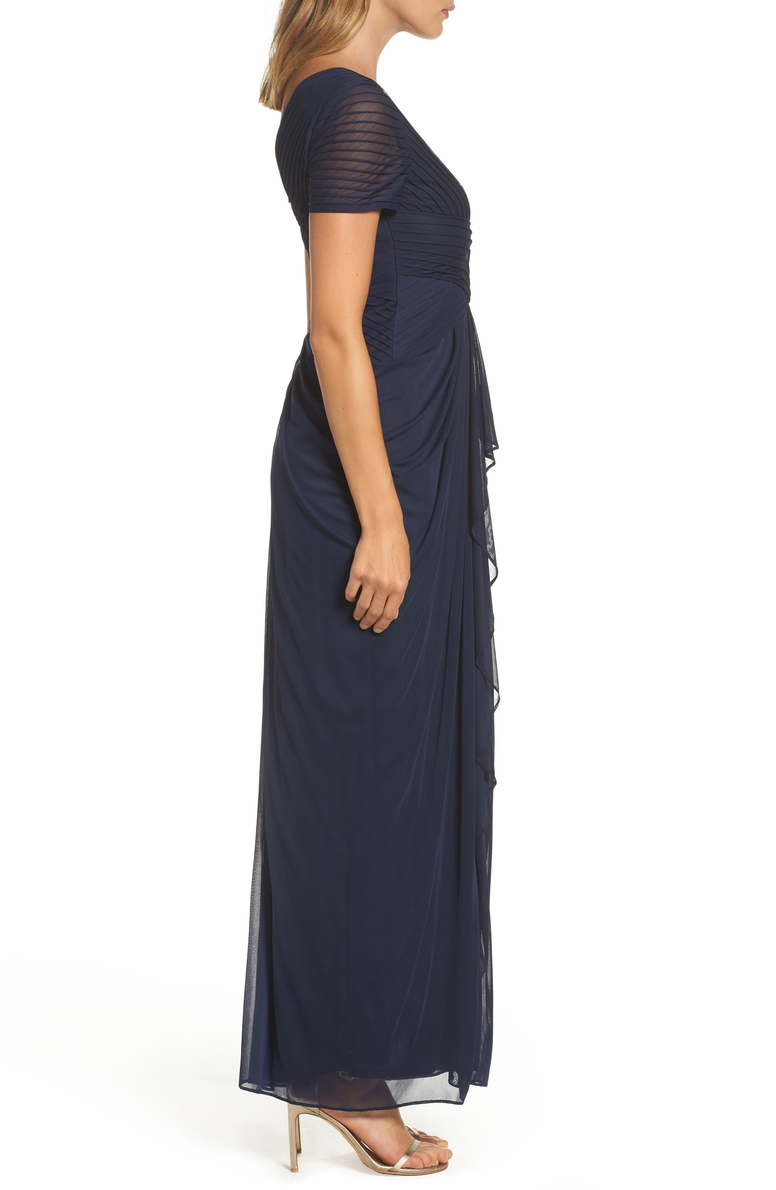 Draped Mesh Gown,                             Alternate thumbnail 3, color,                             Navy