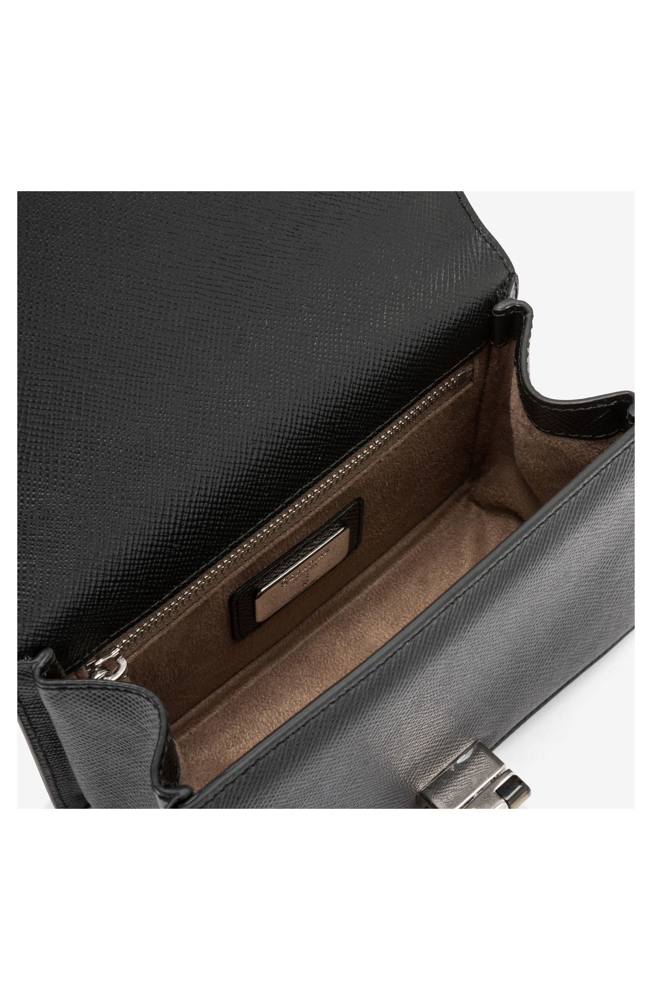 Mini Roberta Evolution Leather Crossbody Bag,                             Alternate thumbnail 3, color,                             Black