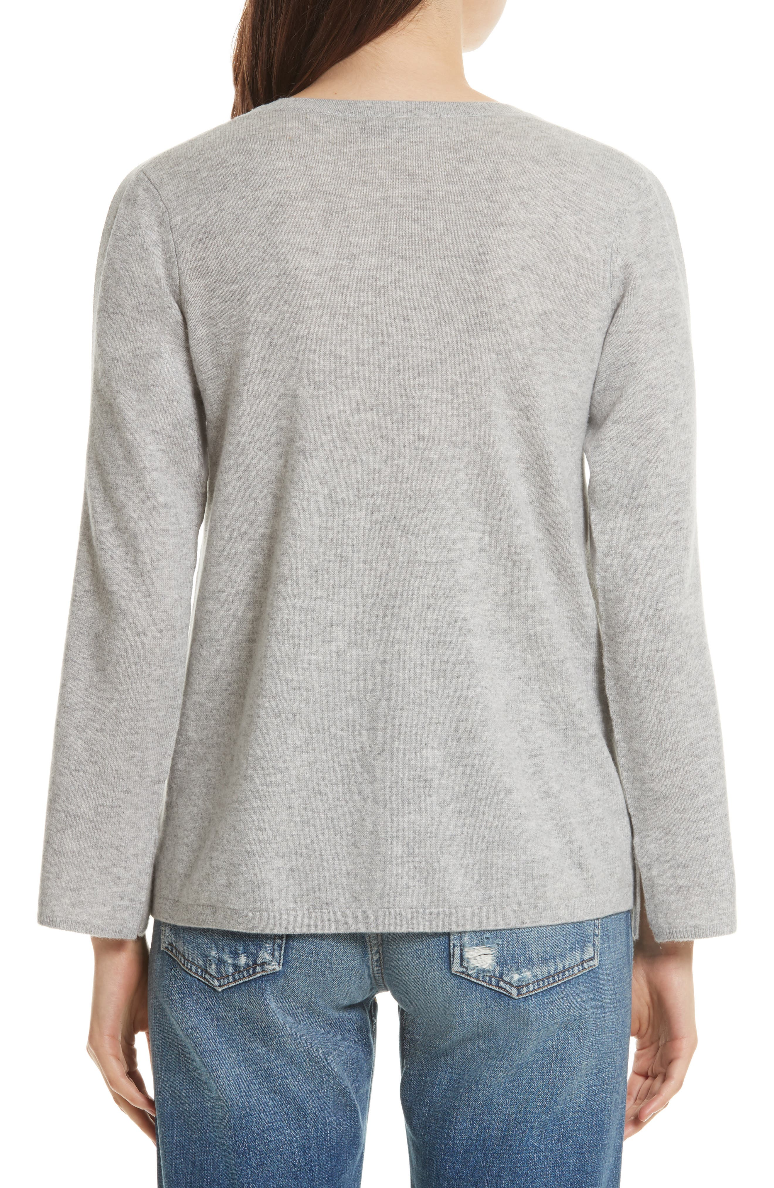 Amalyn Cold Shoulder Wool & Cashmere Sweater,                             Alternate thumbnail 2, color,                             Ash Heather Grey