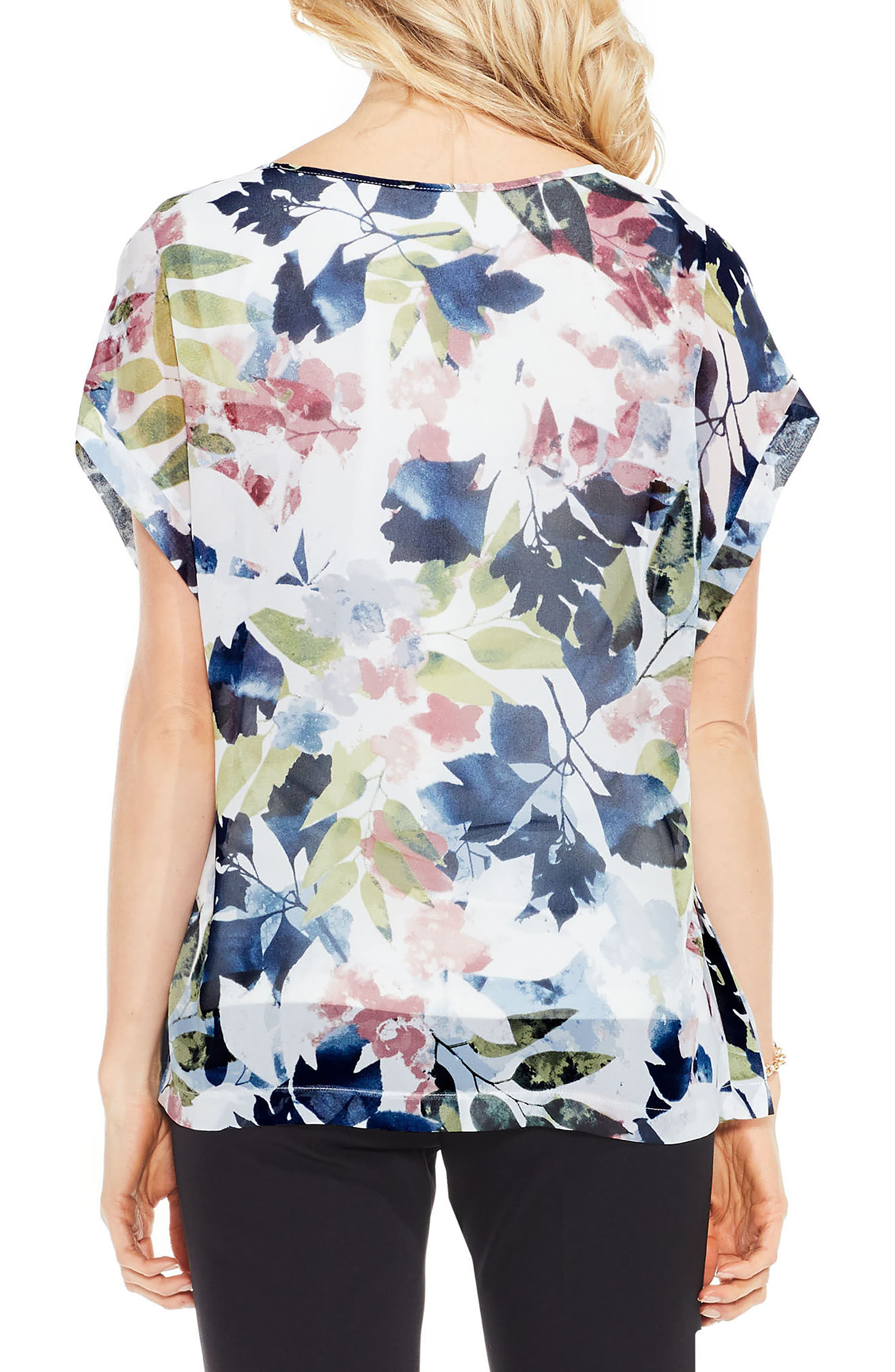 Alternate Image 2  - Vince Camuto Garden Expressions Cap Sleeve Crepe Blouse