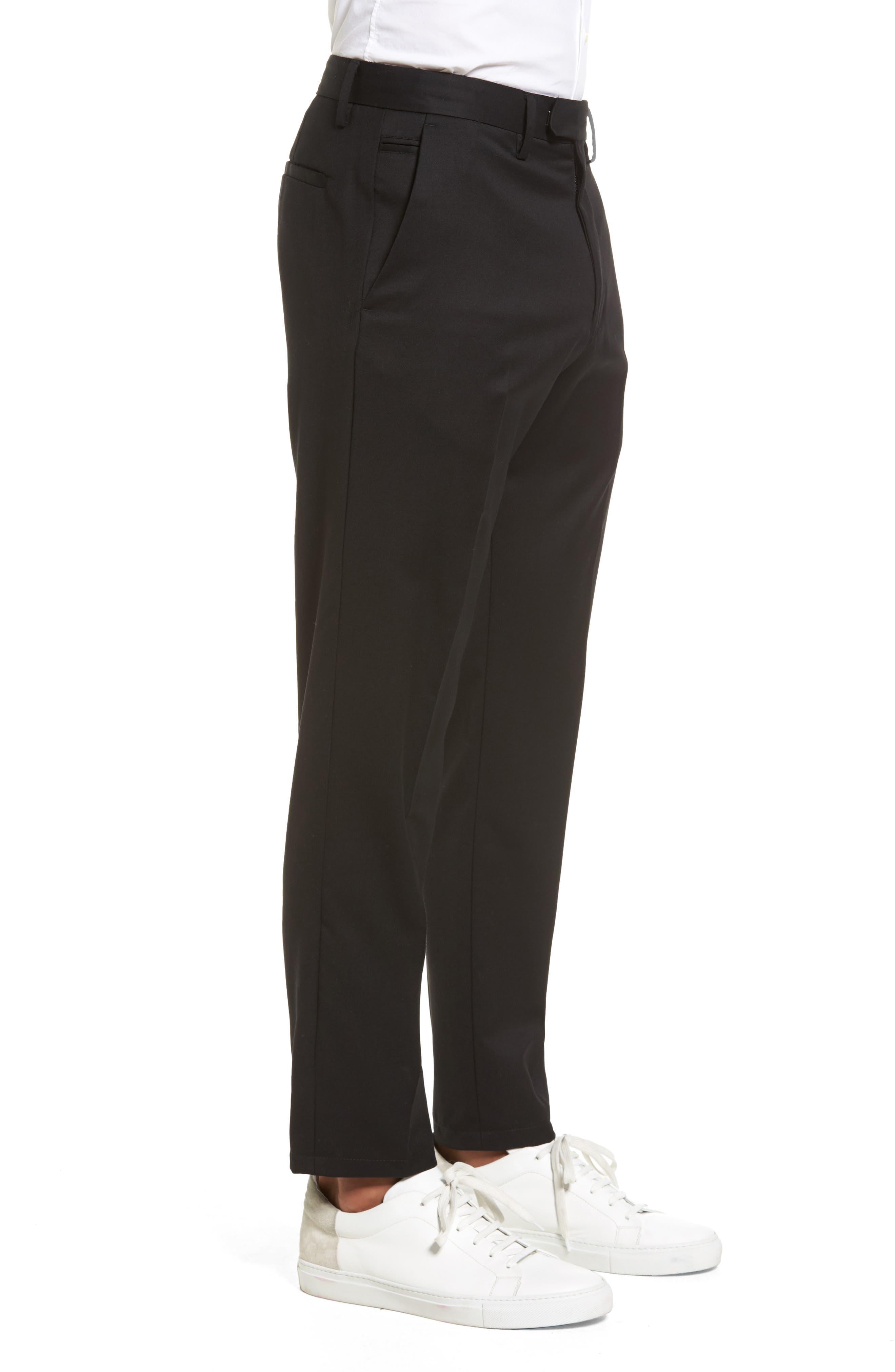 Slim Wool Trousers,                             Alternate thumbnail 3, color,                             Black Caviar