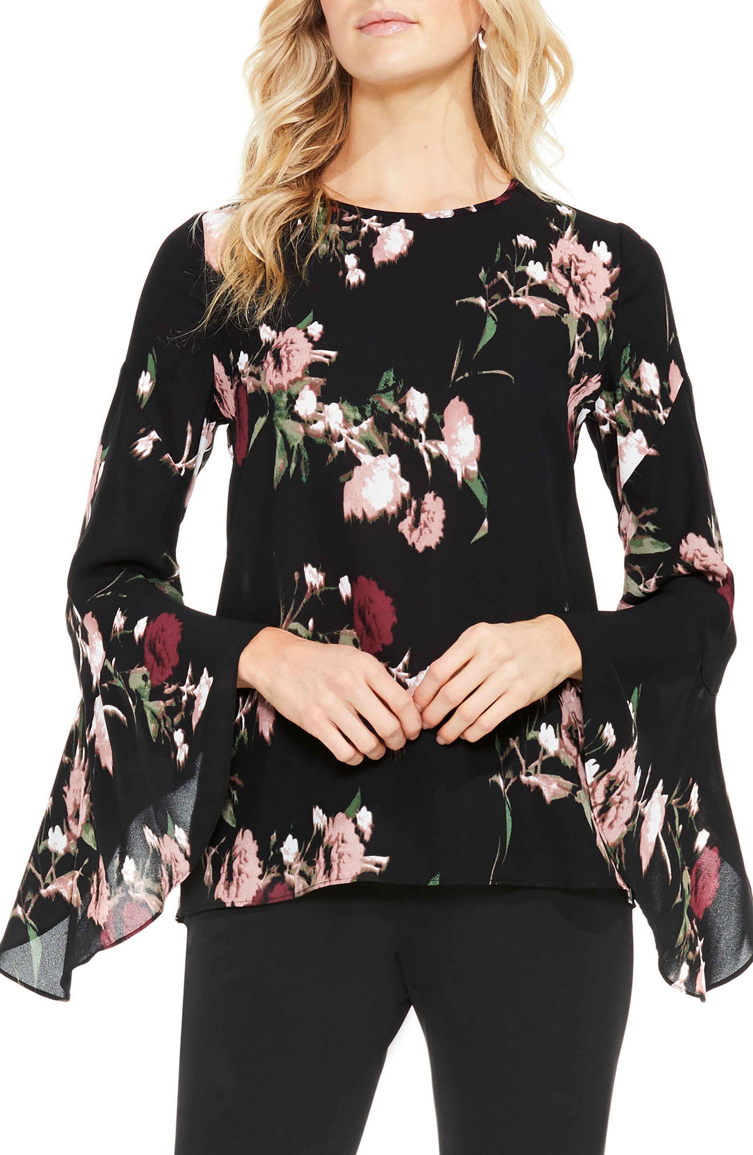 Alternate Image 1 Selected - Vince Camuto Windswept Bouquet Bell Sleeve Blouse (Regular & Petite)