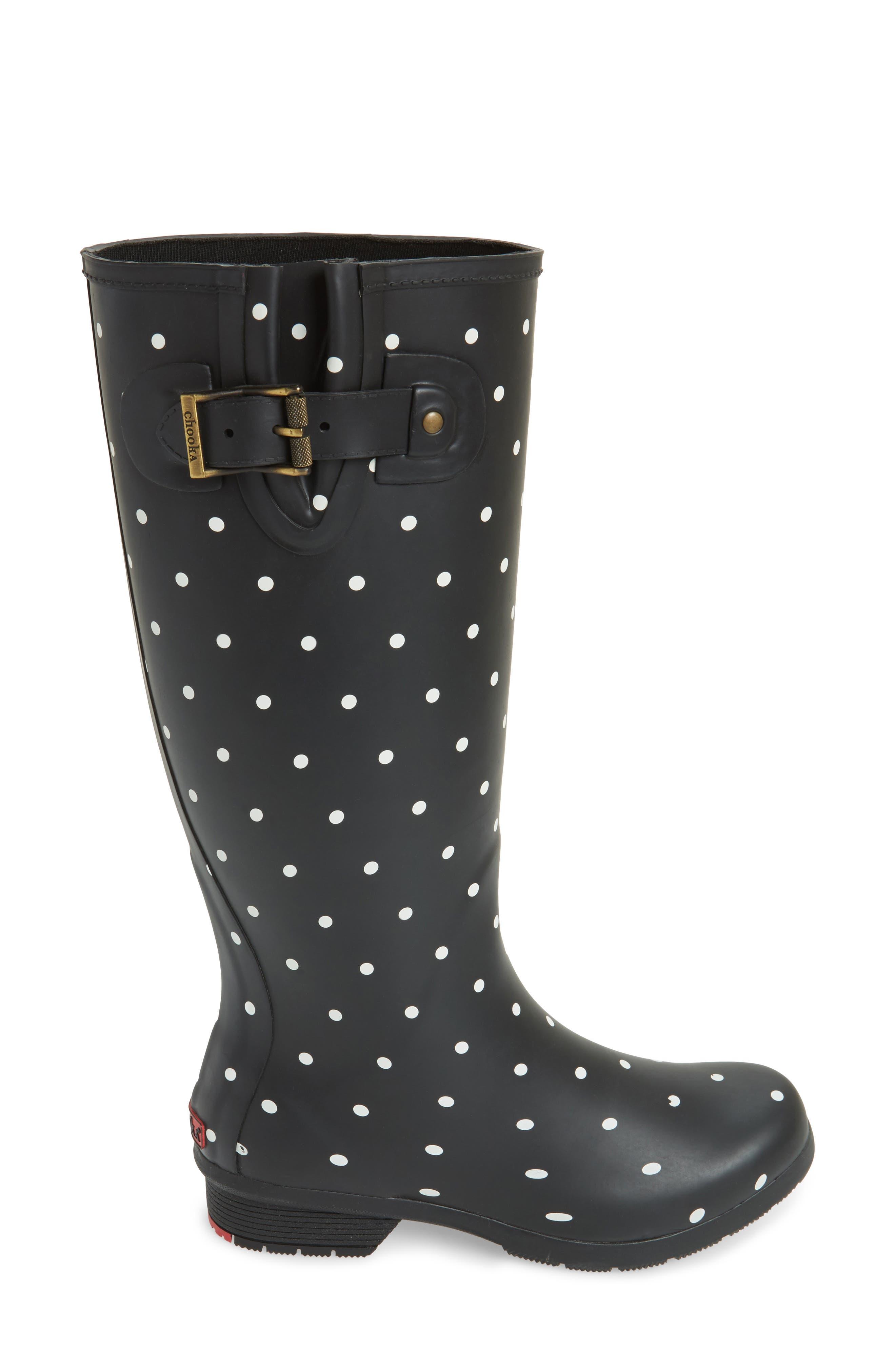 Classic Dot Rain Boot,                             Alternate thumbnail 3, color,                             Black